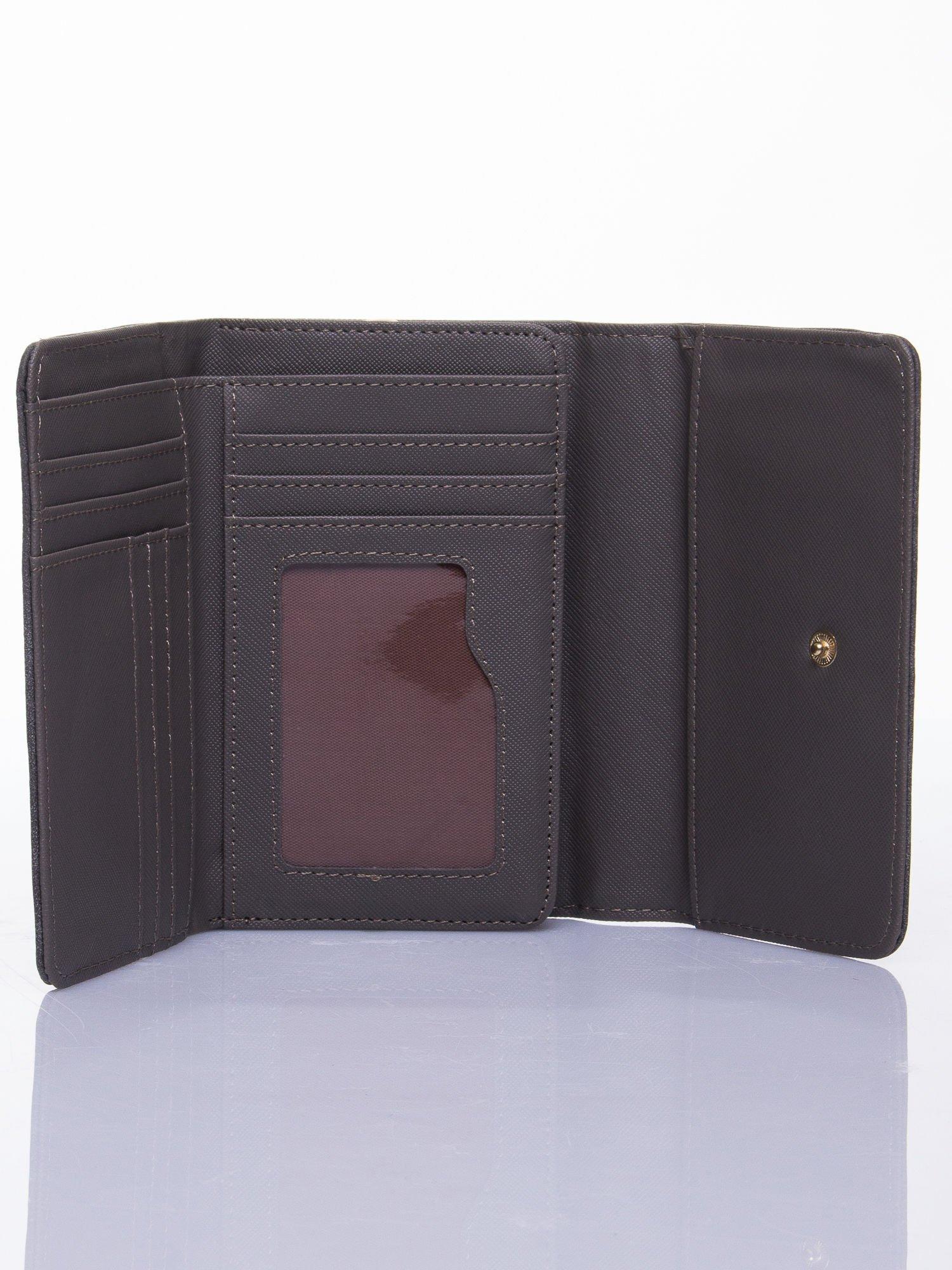 Szary ażurowany portfel ze złotym zapięciem                                  zdj.                                  3