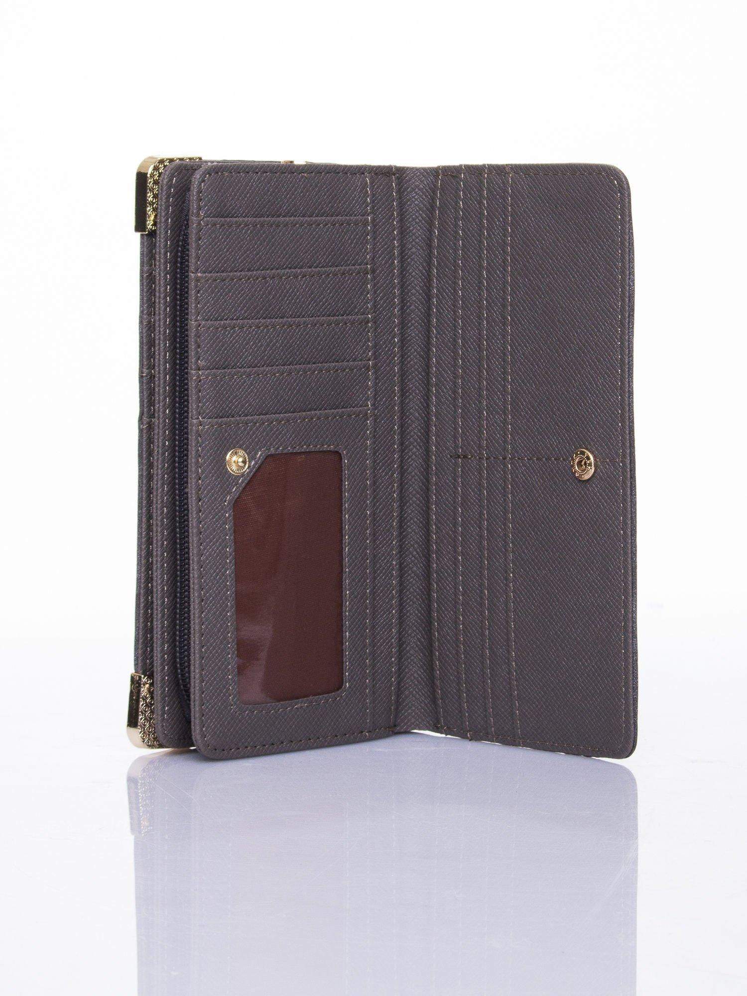 Szary ażurowany portfel ze złotymi okuciami                                  zdj.                                  5