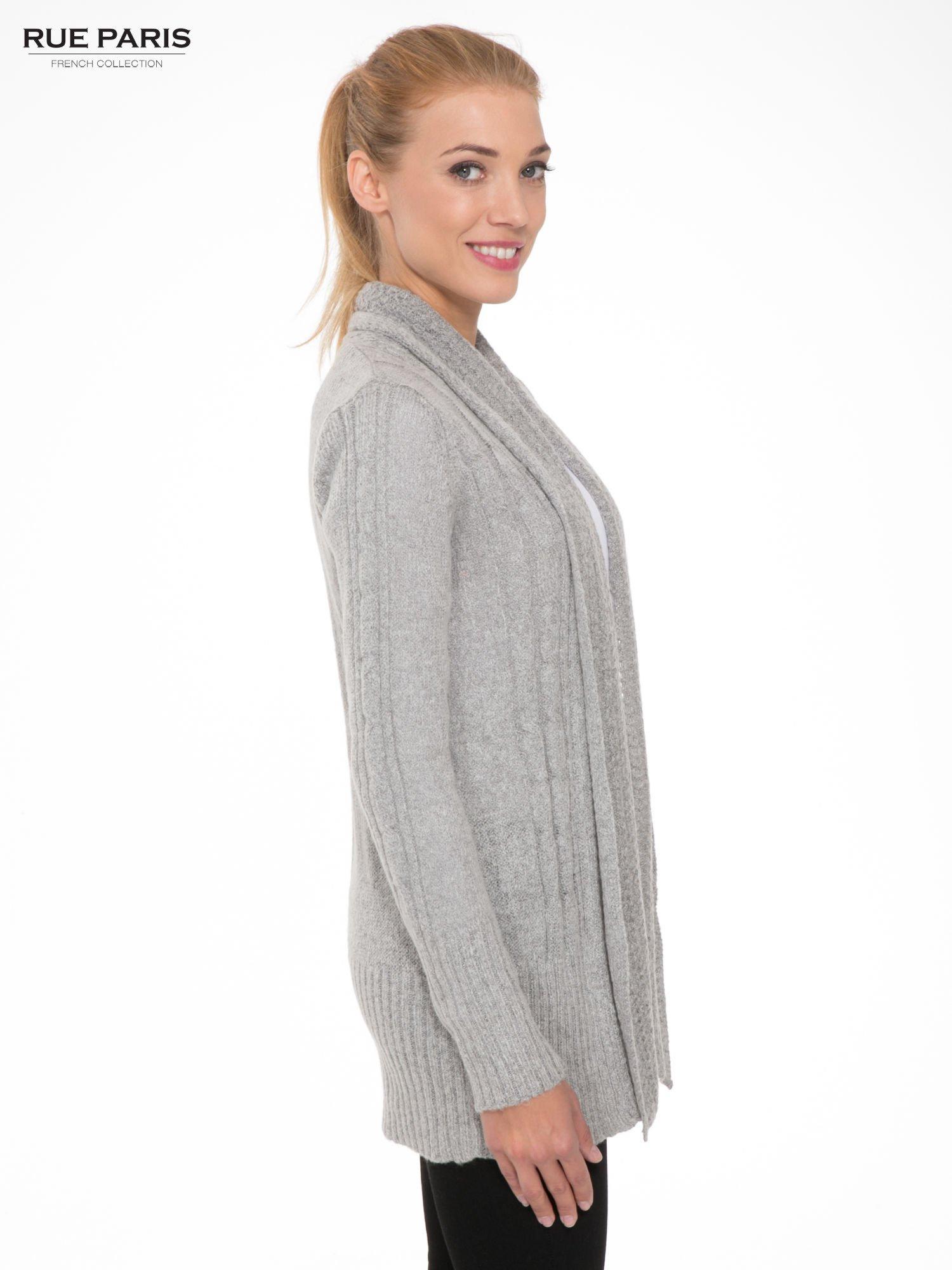 Szary ażurowy długi sweter typu kardigan                                  zdj.                                  3
