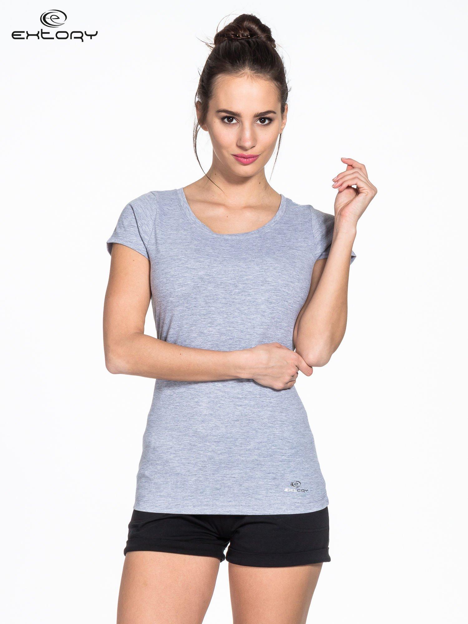 Szary damski t-shirt sportowy basic PLUS SIZE                                  zdj.                                  1