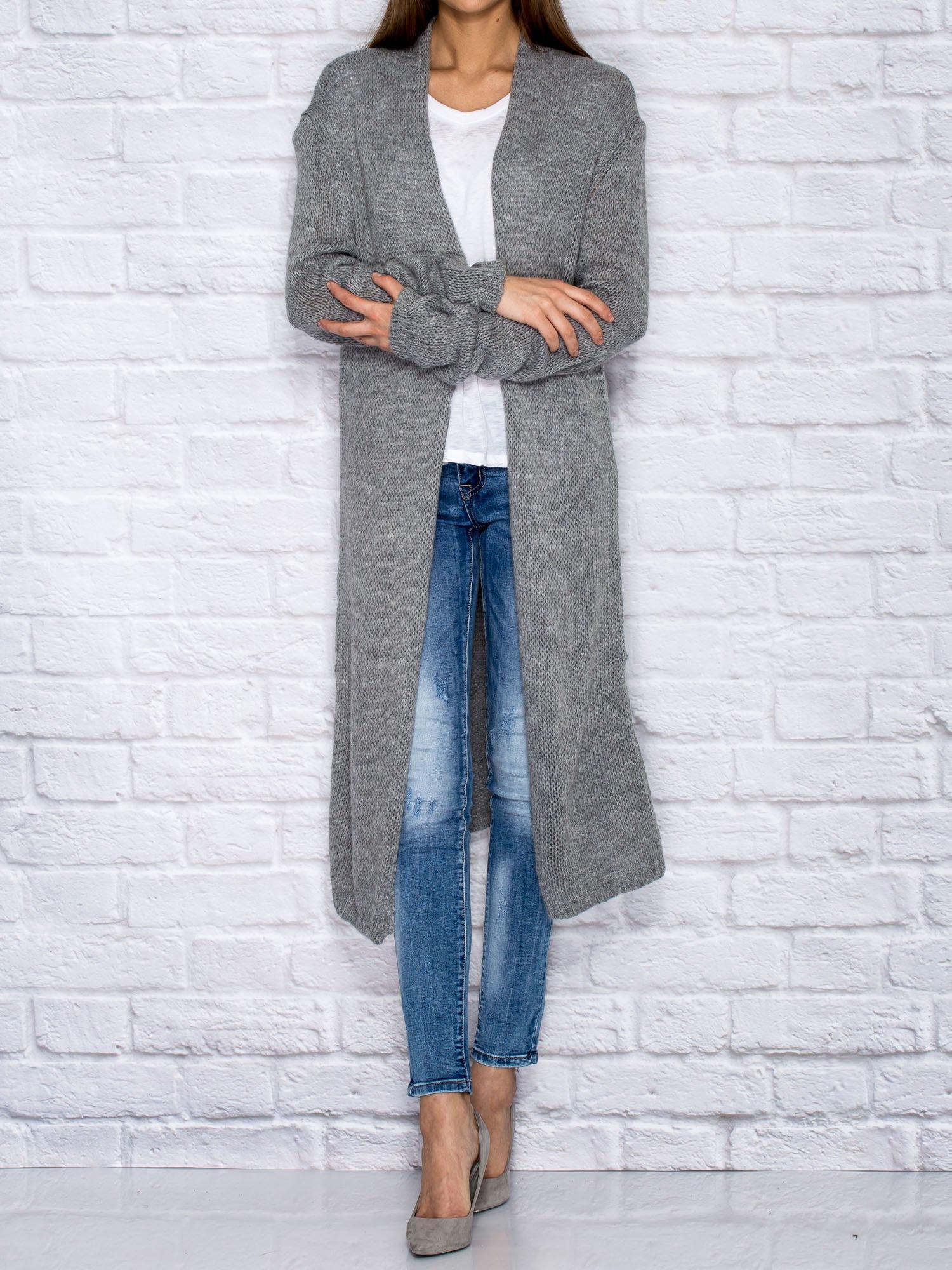 d9b5cf95 Szary długi wełniany sweter