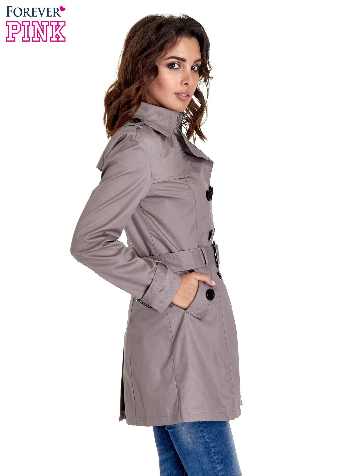Szary klasyczny płaszcz typu trencz                                  zdj.                                  3