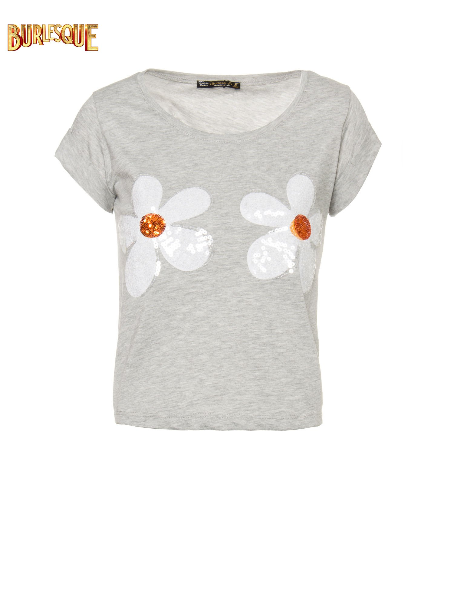 Szary krótki t-shirt z kwiatkami z cekinów                                  zdj.                                  1