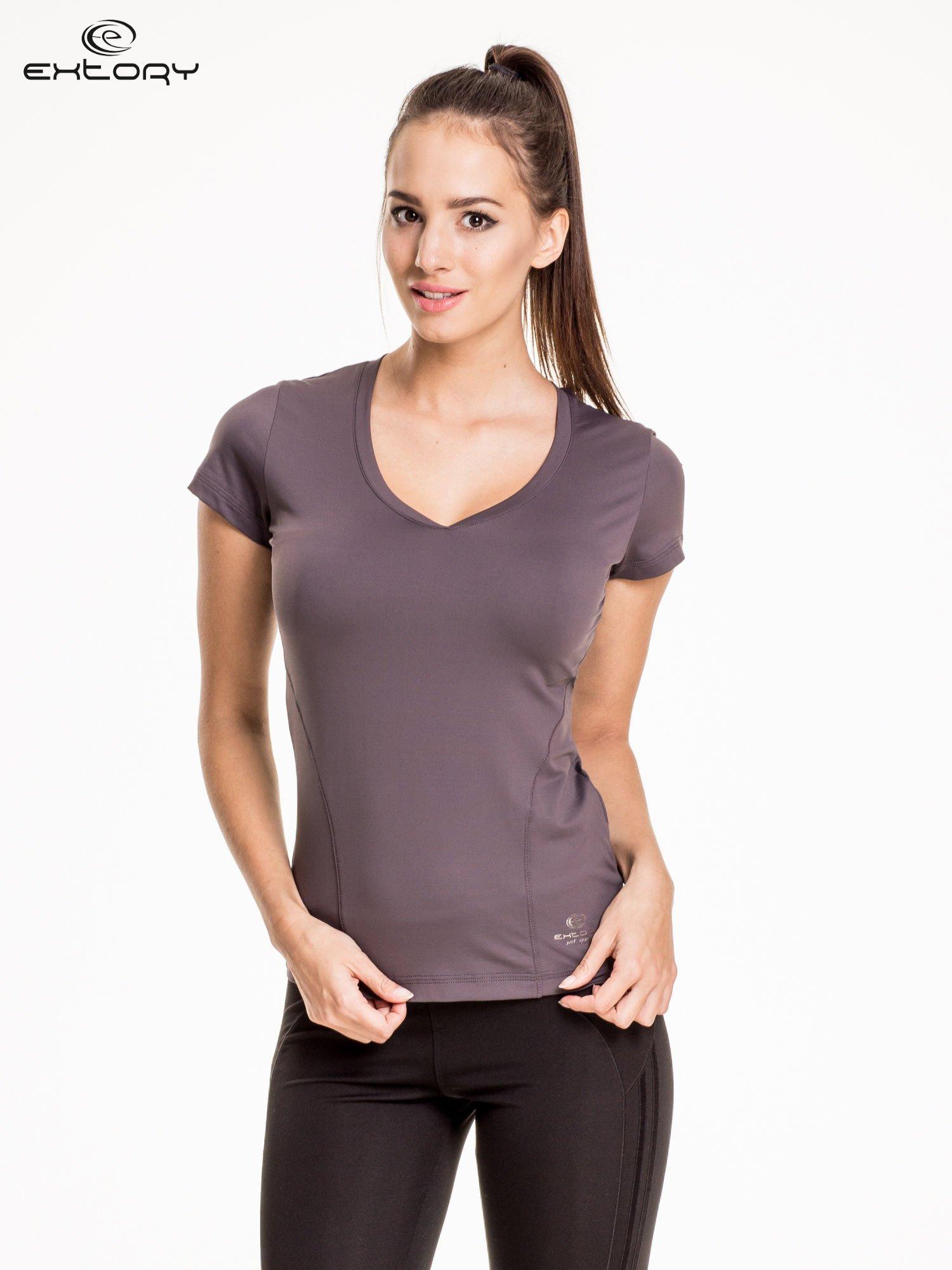 Szary modelujący damski t-shirt sportowy                                   zdj.                                  1