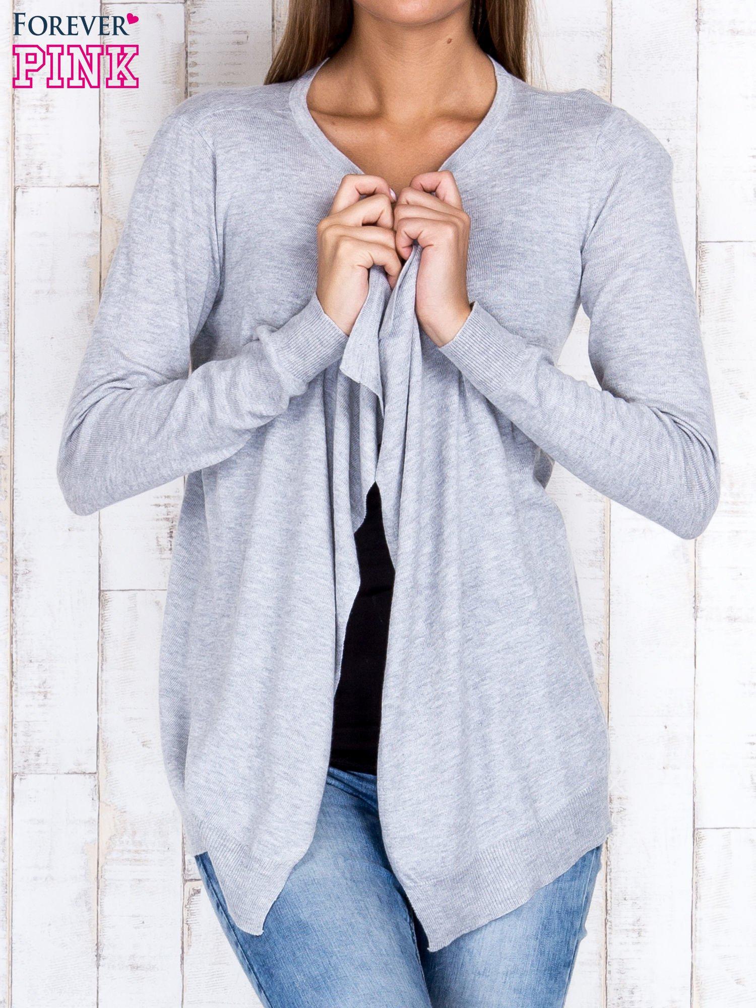 Szary niezapinany sweter z melanżowym efektem                                  zdj.                                  1