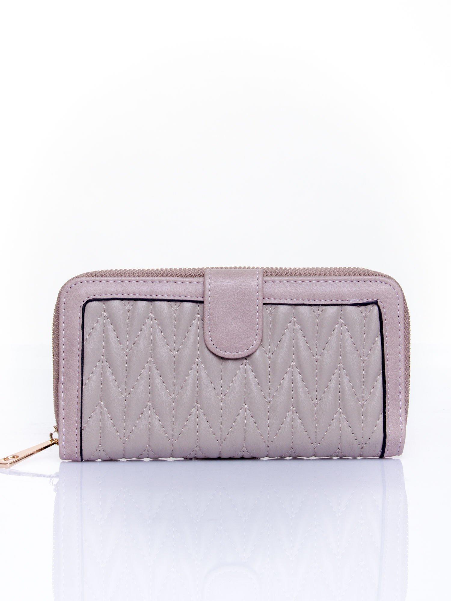 Szary pikowany portfel ze złotym suwakiem                                  zdj.                                  1