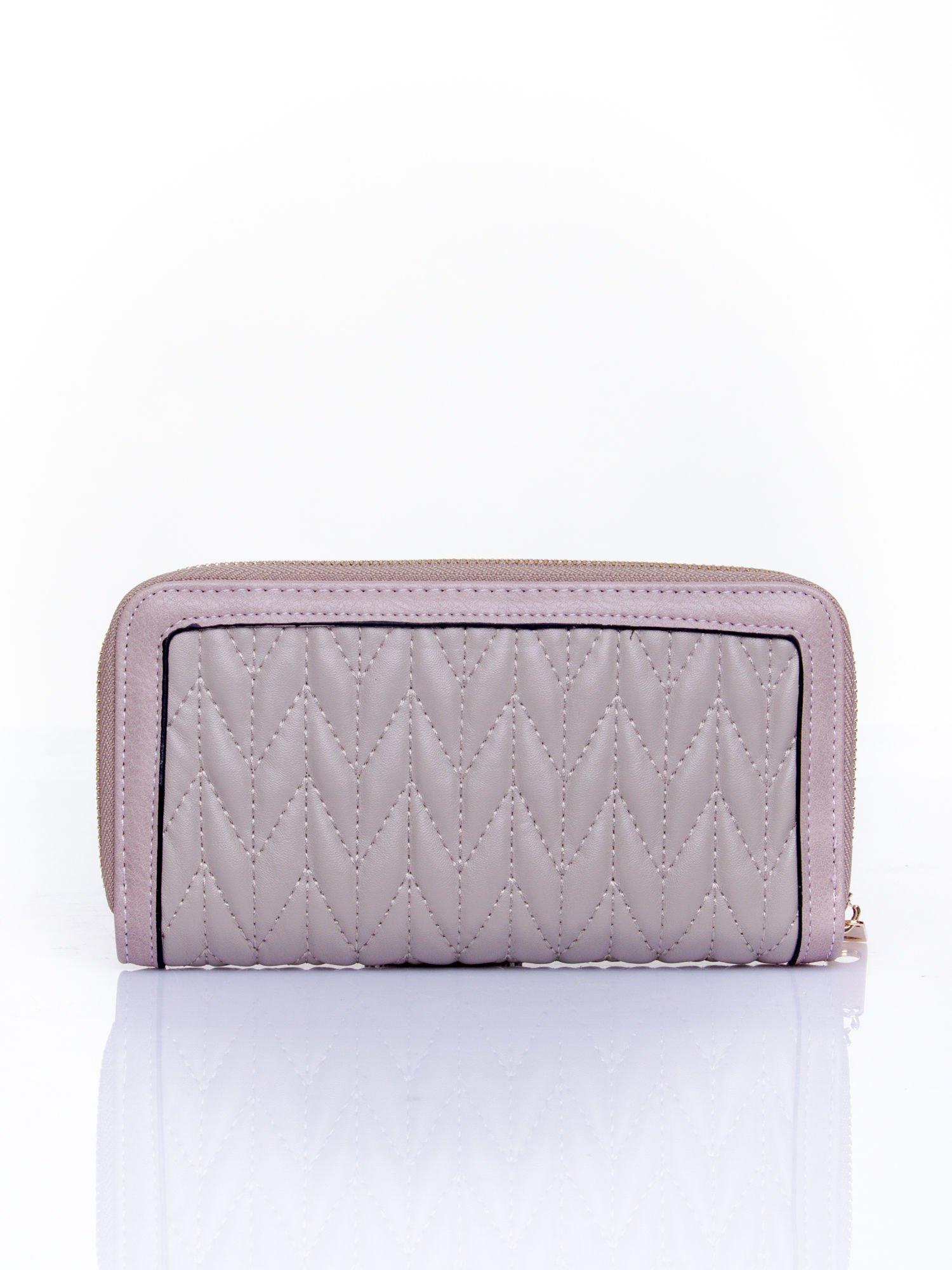 Szary pikowany portfel ze złotym suwakiem                                  zdj.                                  2