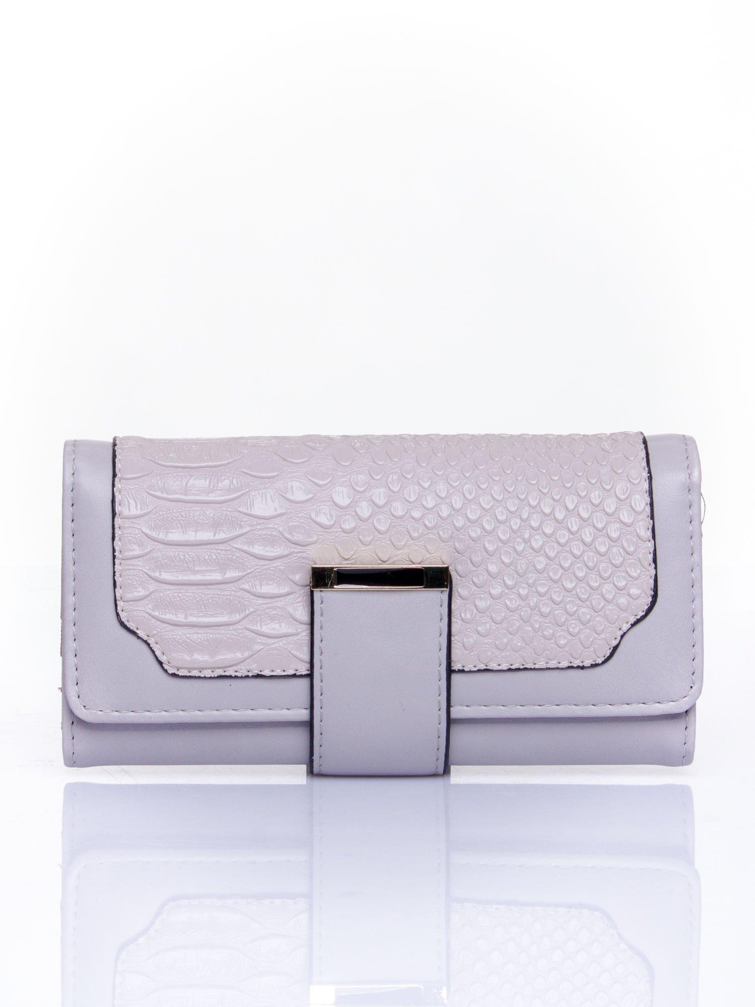 Szary portfel z motywem skóry aligatora                                   zdj.                                  1