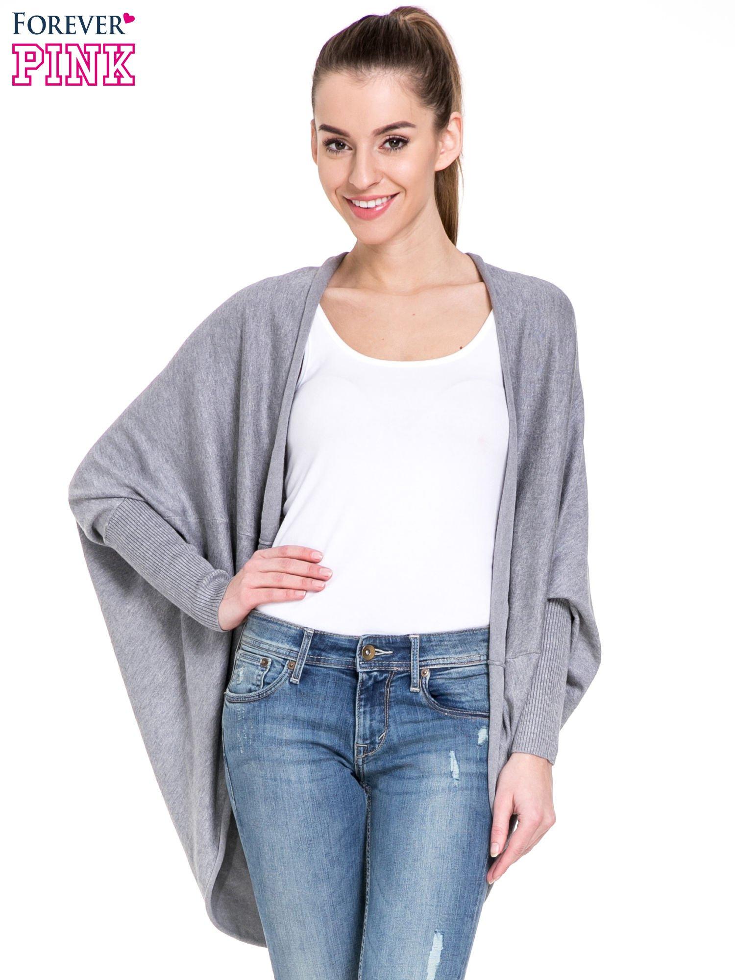 Szary sweter narzutka z nietoperzowymi rękawami                                  zdj.                                  1