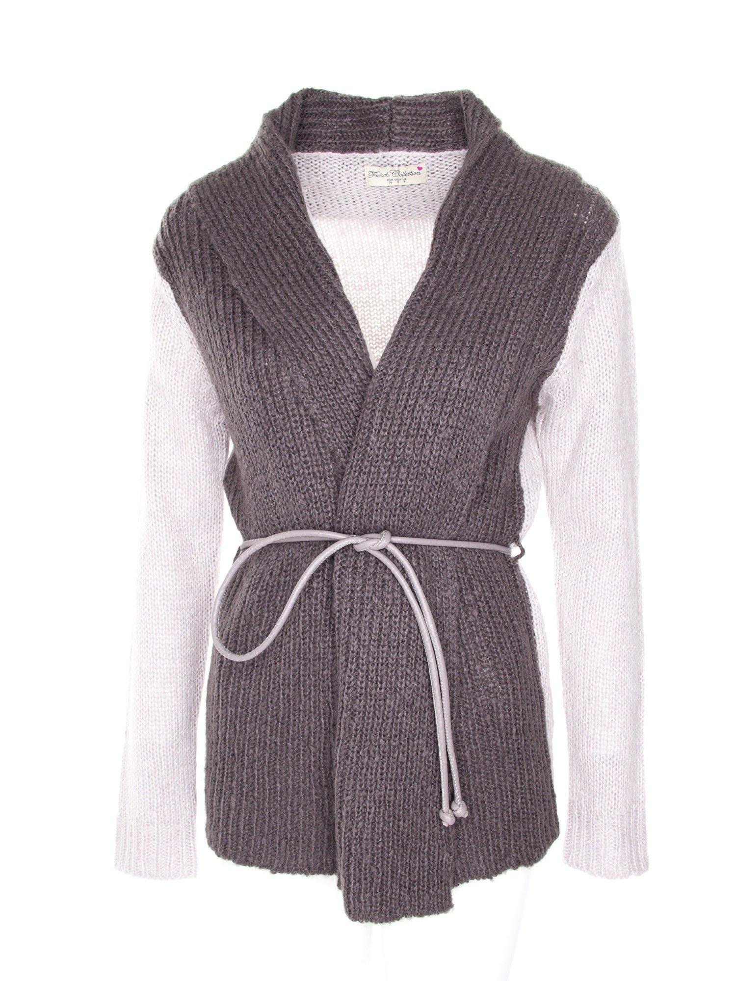 Szary sweter z kontrastowymi rękawami i paskiem                                  zdj.                                  1