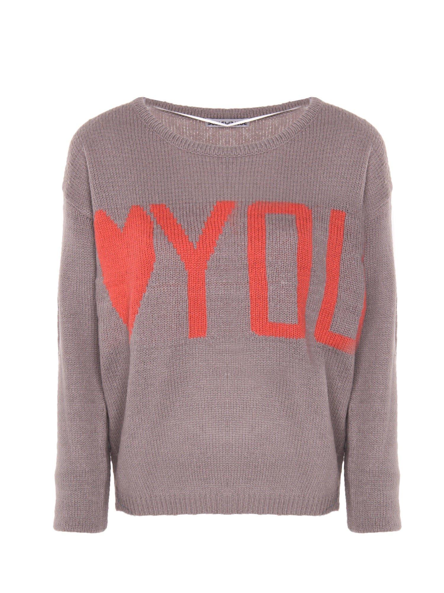 Szary sweter z sercem i napisem YOU                                  zdj.                                  1