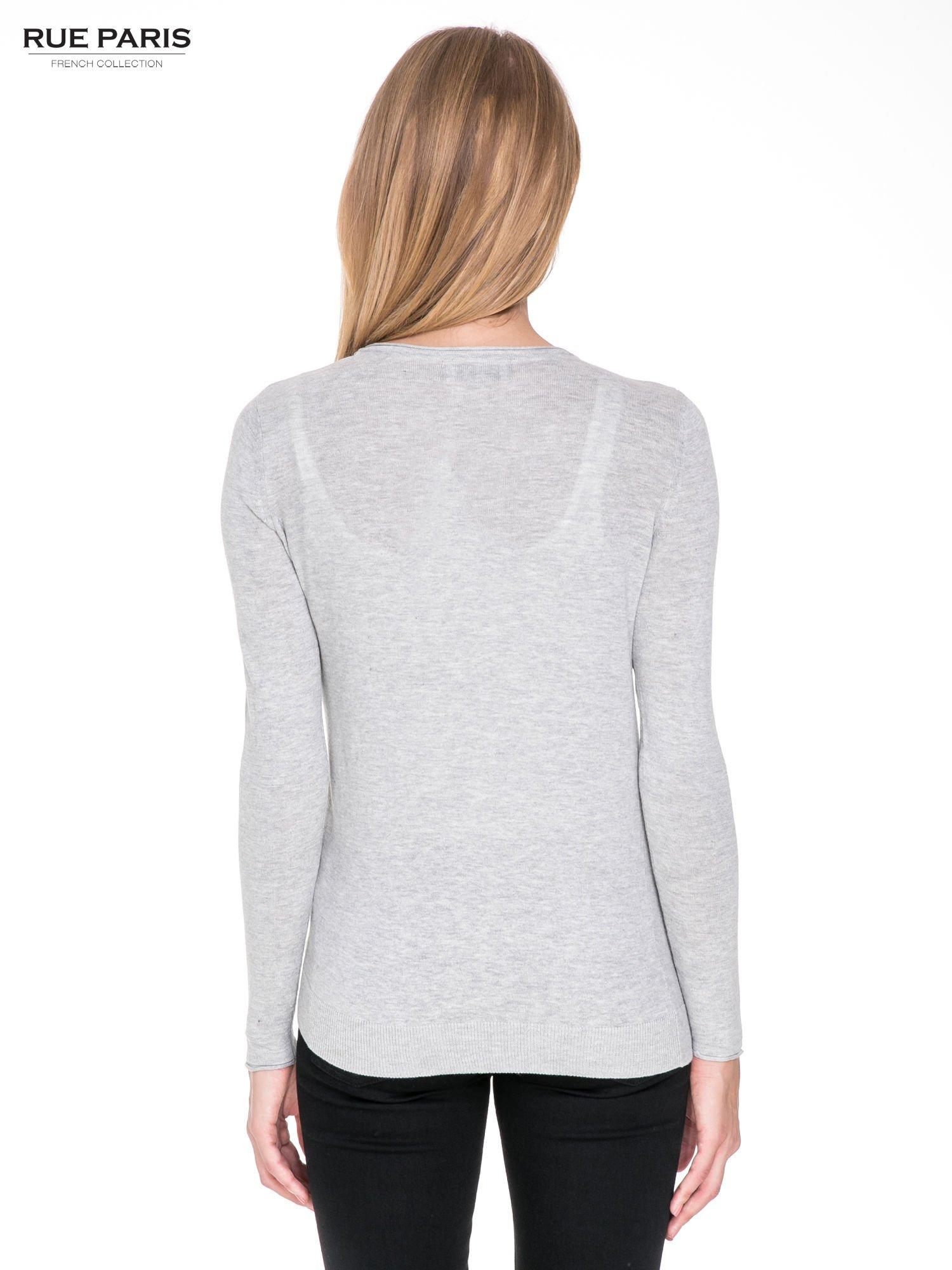 Szary sweterek kardigan o kaskadowym fasonie                                  zdj.                                  2