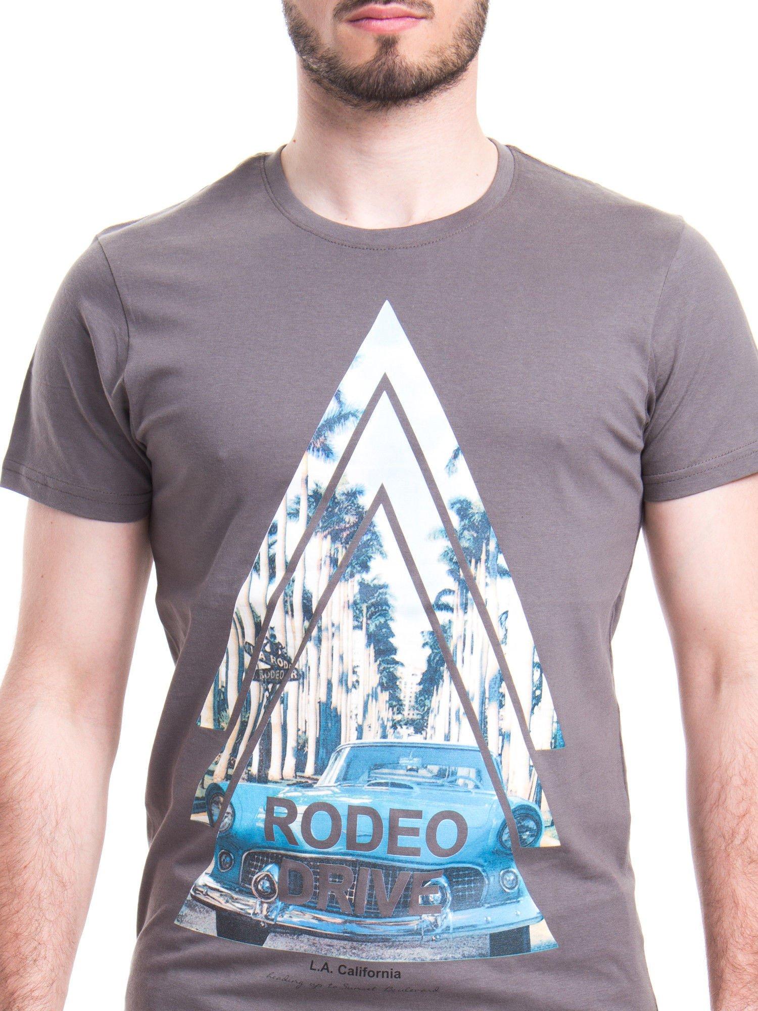Szary t-shirt męski z nadrukiem RODEO DRIVE                                  zdj.                                  4