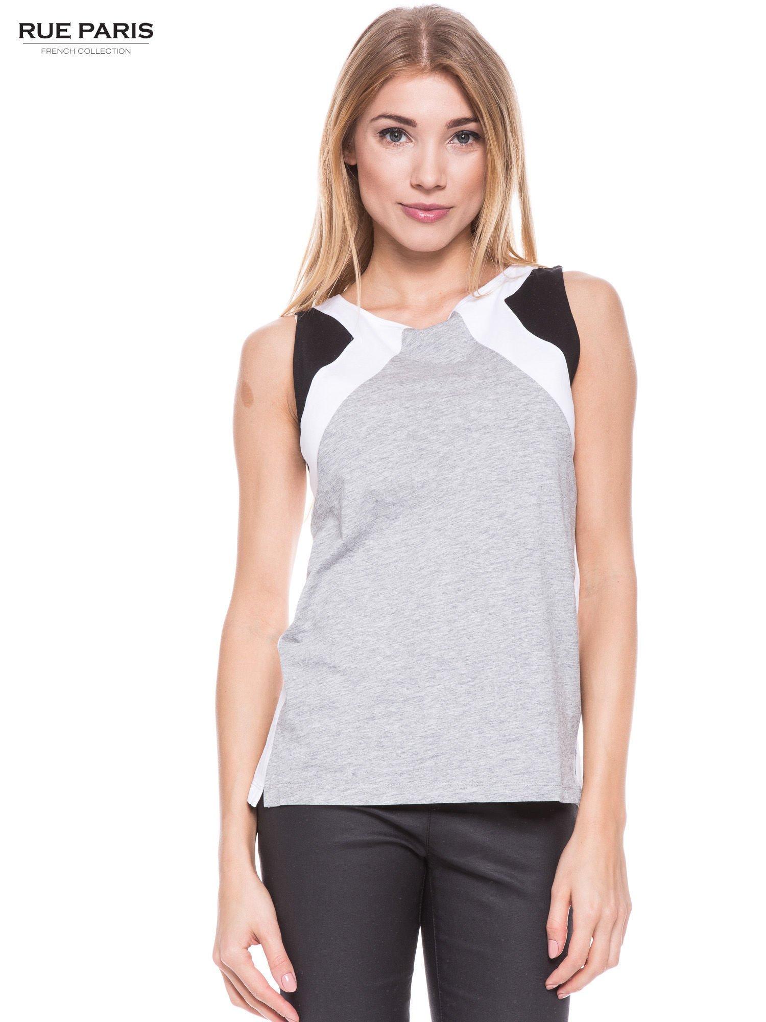 Szary t-shirt z geometrycznymi wstawkami na ramionach                                  zdj.                                  1
