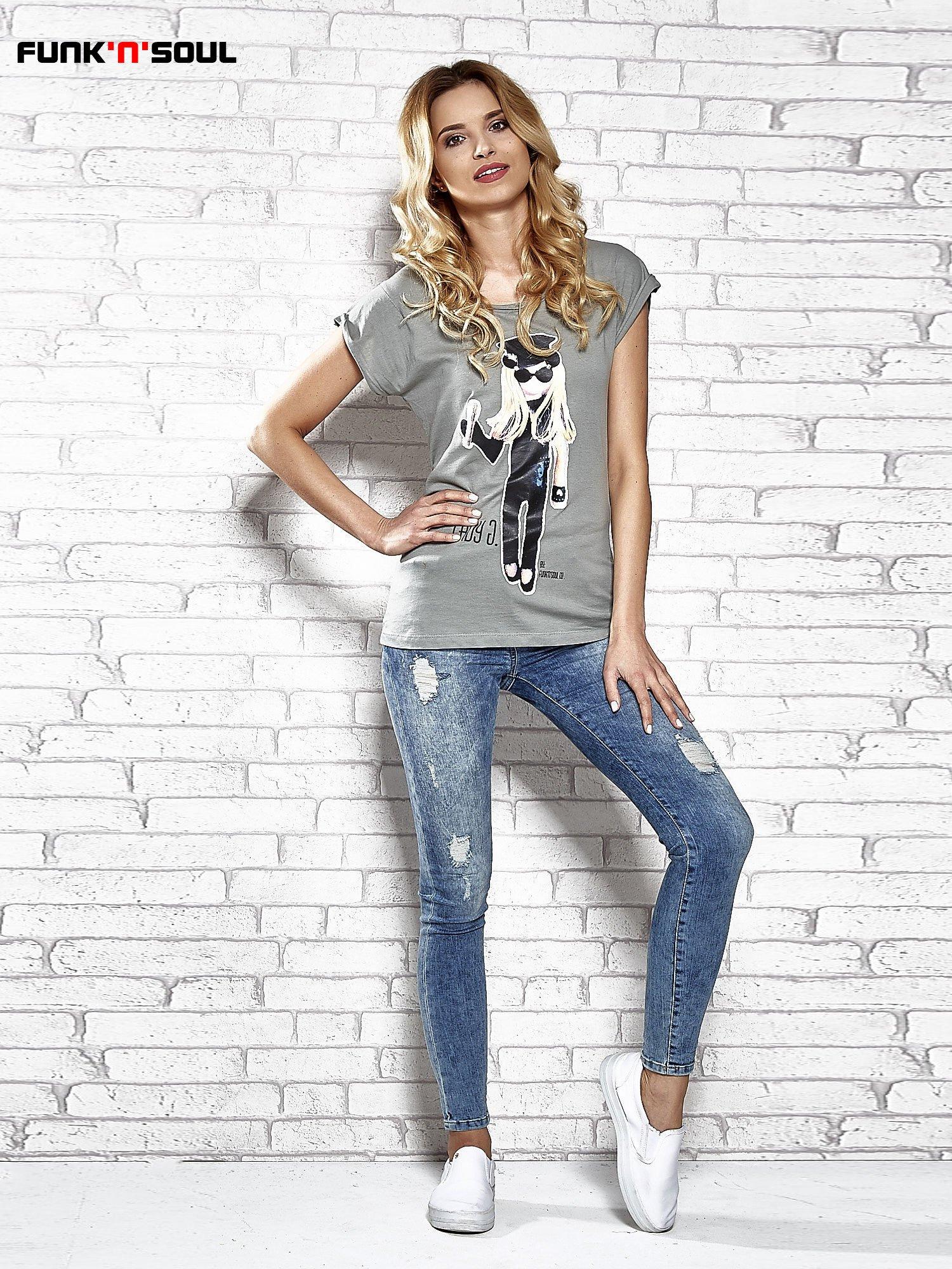 Szary t-shirt z nadrukiem Lady Gaga Funk n Soul                                  zdj.                                  7