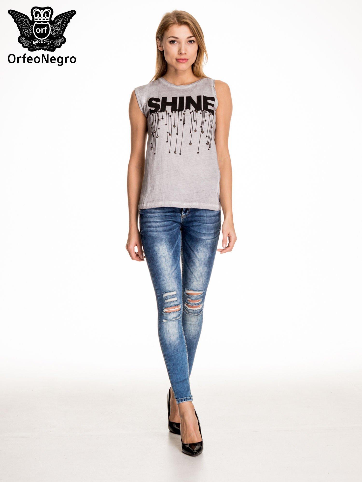 Szary t-shirt z nadrukiem SHINE z gwiazdkami                                  zdj.                                  5