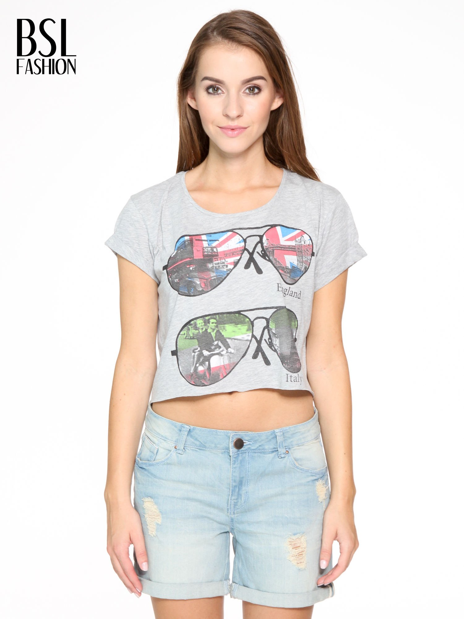 Szary t-shirt z nadrukiem awiatorów z motywem ENGLAND/ITALY                                  zdj.                                  1