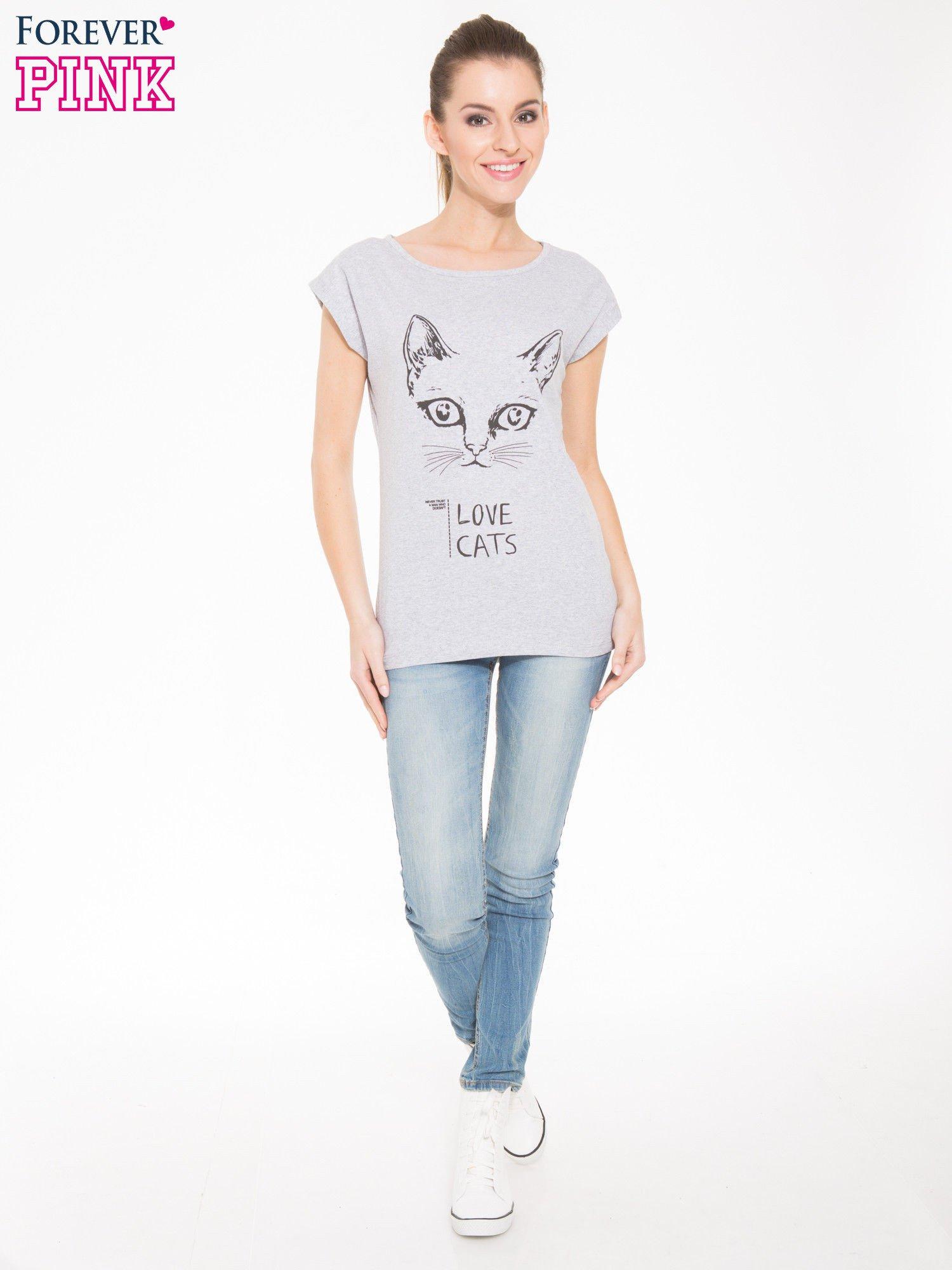 Szary t-shirt z nadrukiem kota i napisem LOVE CATS                                  zdj.                                  4