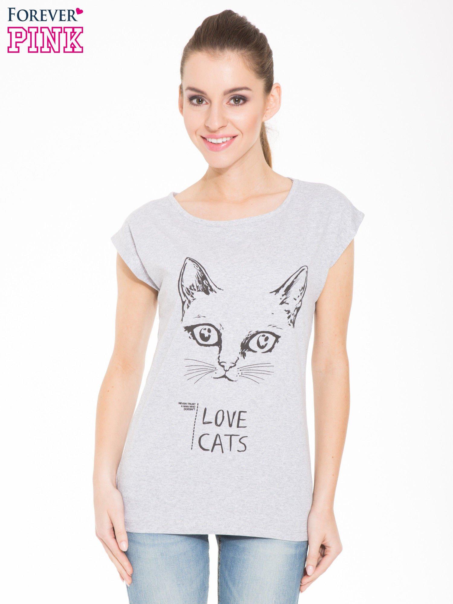 Szary t-shirt z nadrukiem kota i napisem LOVE CATS                                  zdj.                                  1