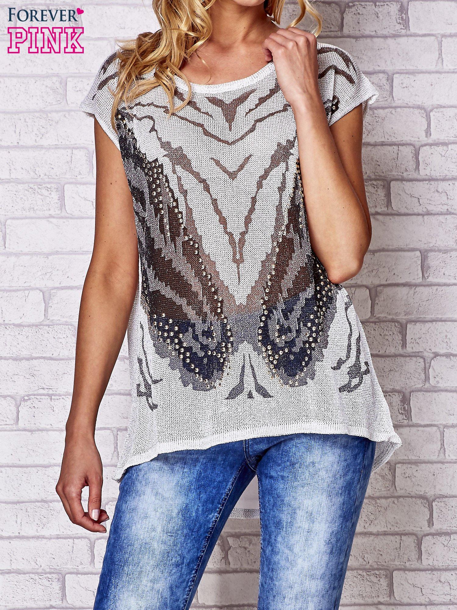 Szary t-shirt z nadrukiem motyla                                  zdj.                                  1