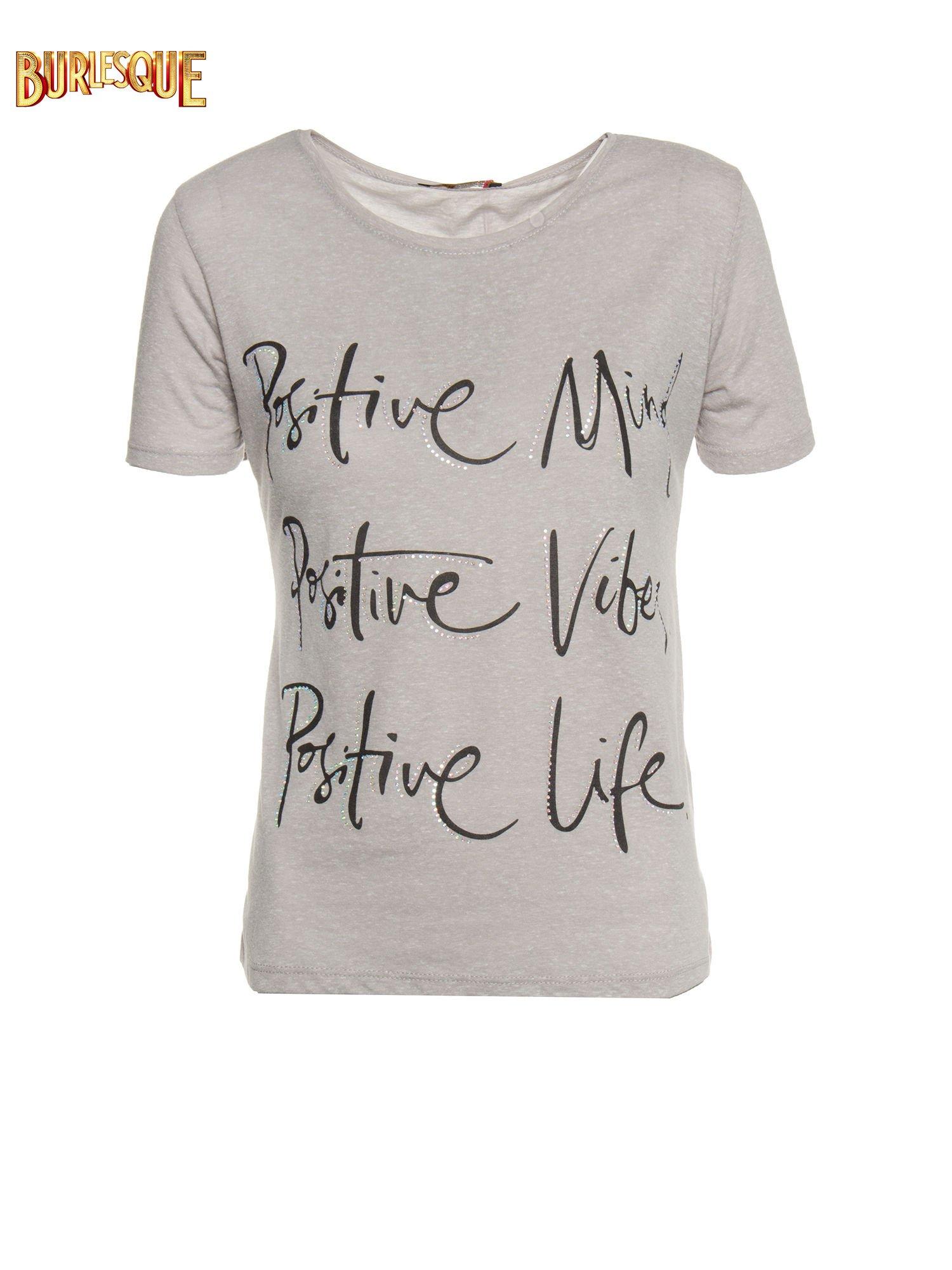 Szary t-shirt z napisem POSITIVE MIND z dżetami                                  zdj.                                  1