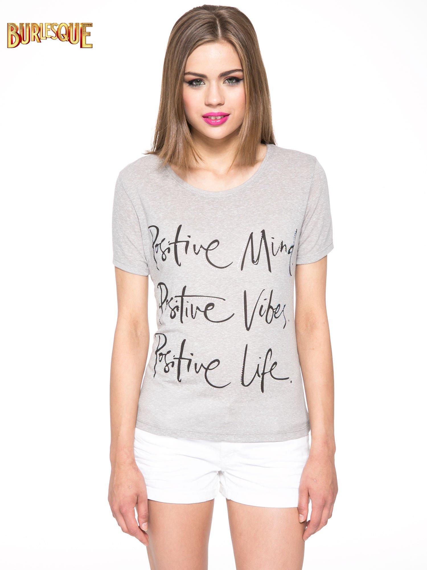 Szary t-shirt z napisem POSITIVE MIND z dżetami                                  zdj.                                  11