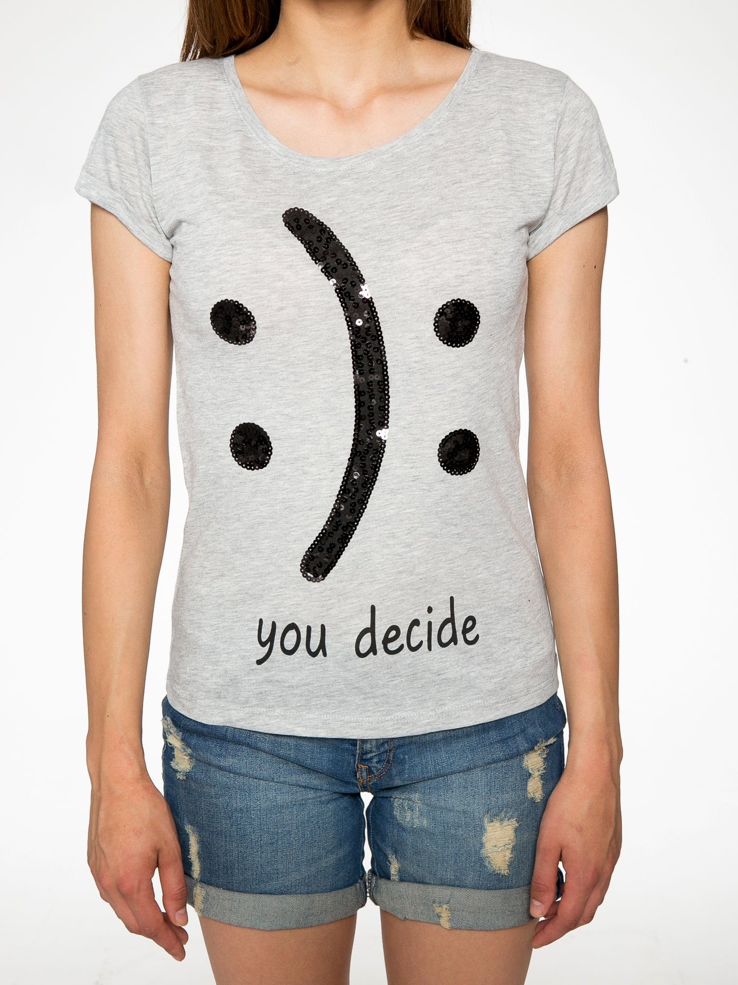 Szary t-shirt z napisem YOU DECIDE i cekinami                                  zdj.                                  7
