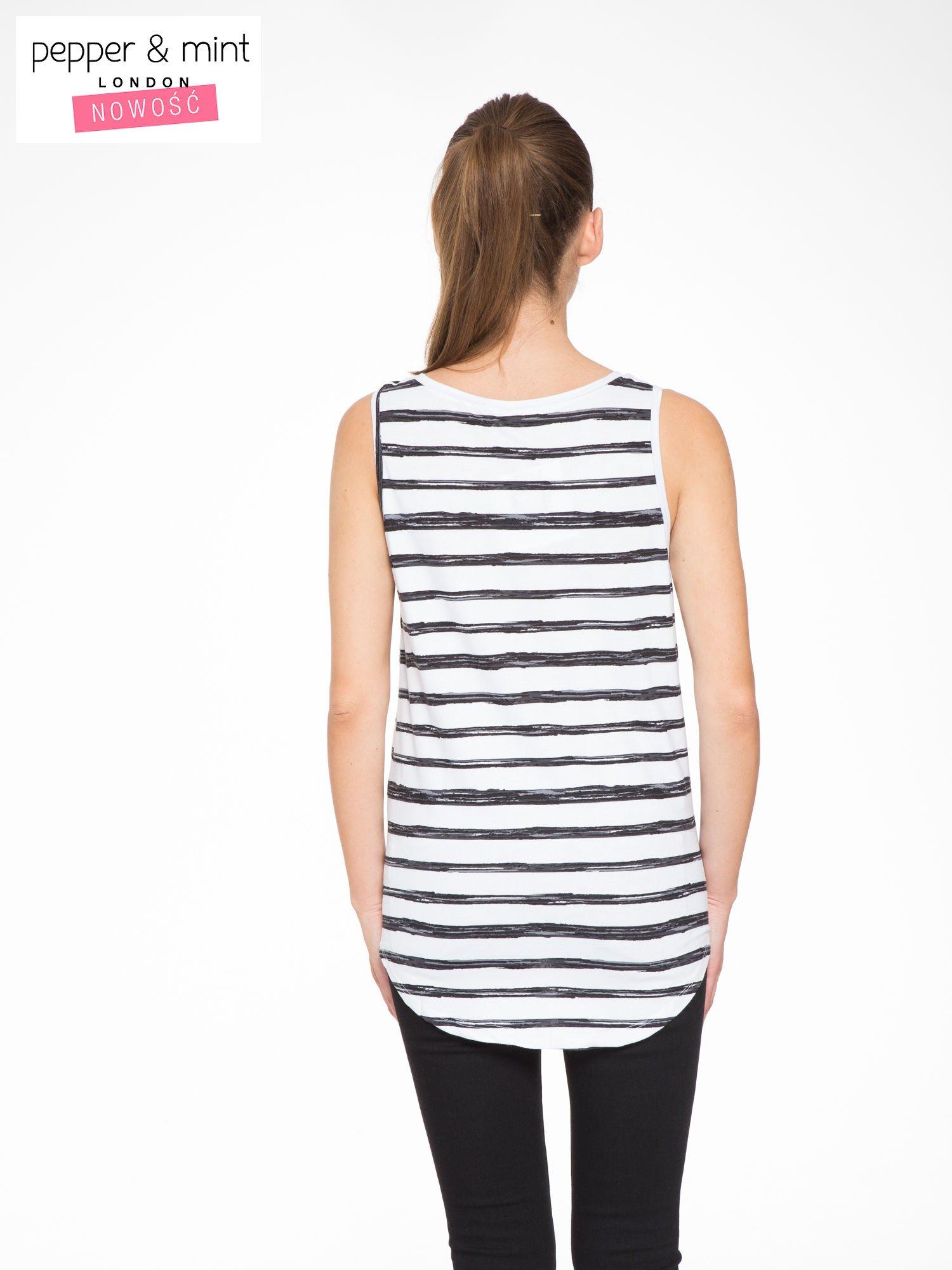 T-shirt na szerokich ramiączkach w biało-czarne paski                                  zdj.                                  4
