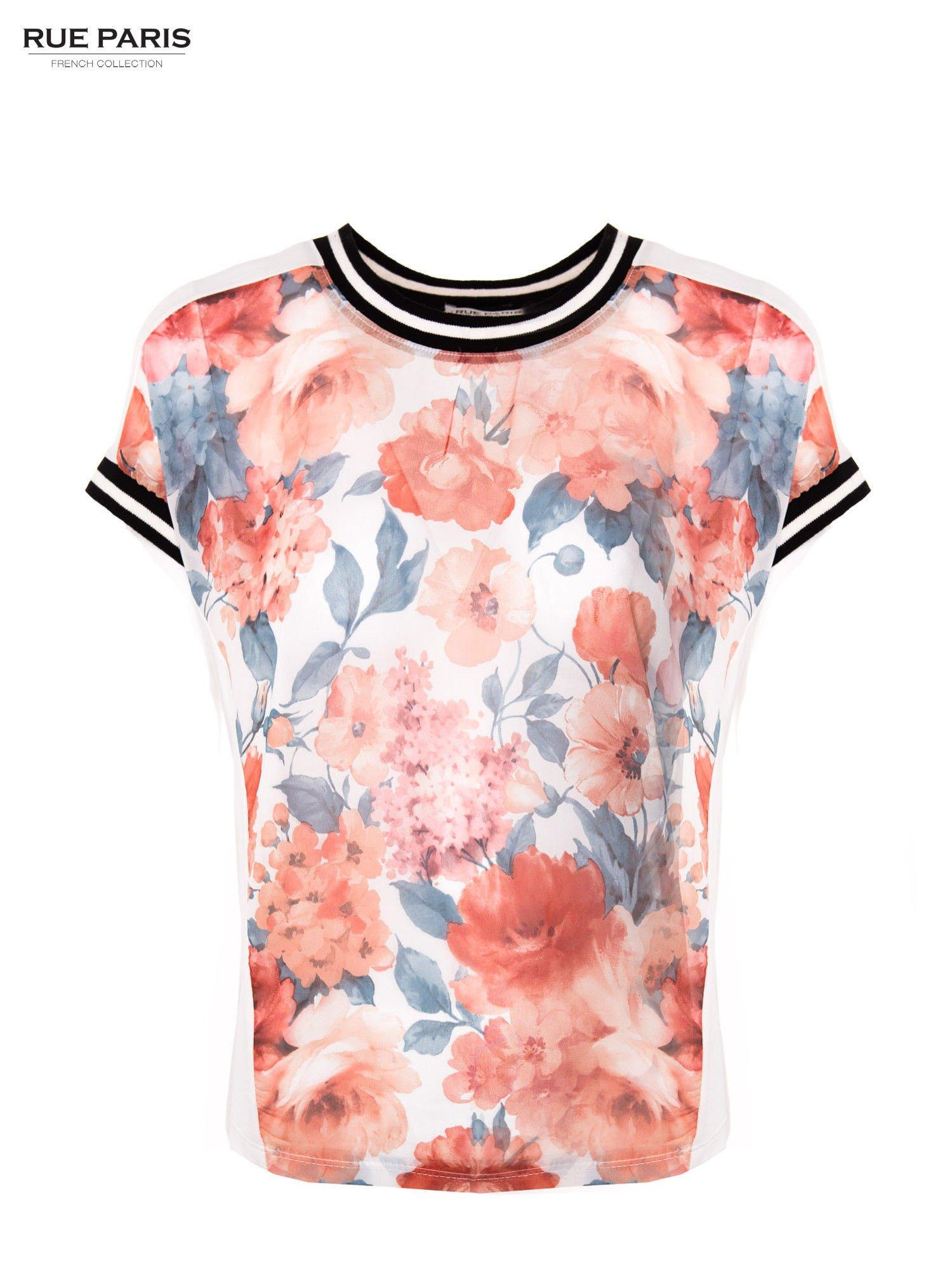 T-shirt w kwiatowy wzór ze sportową lamówką                                  zdj.                                  1