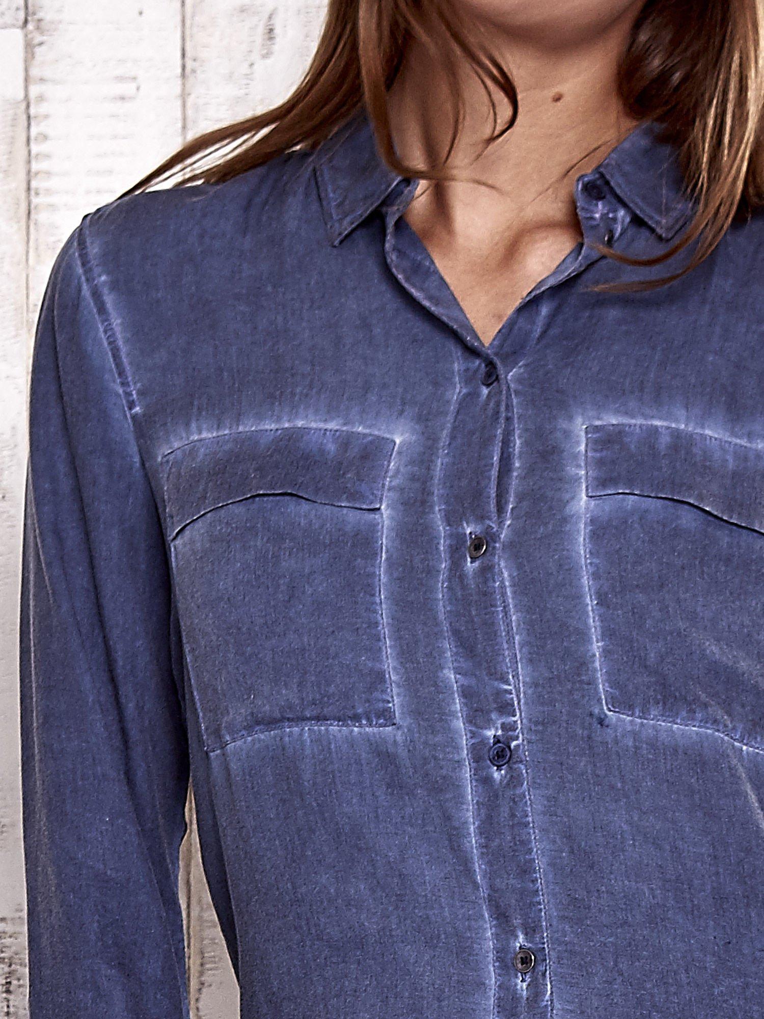 TOM TAILOR Ciemnoniebieska koszula acid wash                                  zdj.                                  6