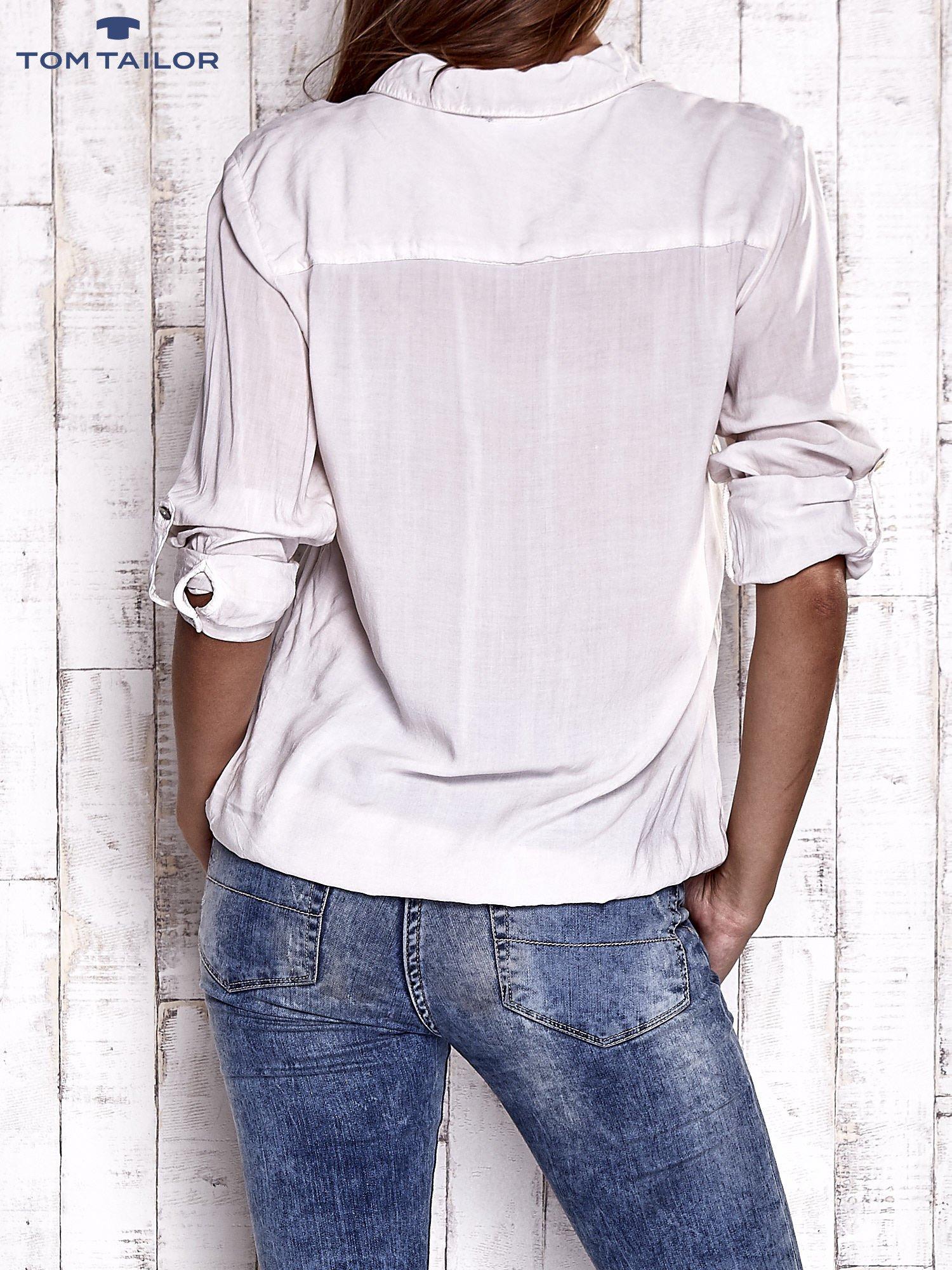 TOM TAILOR Ecru dekatyzowana koszula z podwijanymi rękawami                                  zdj.                                  5