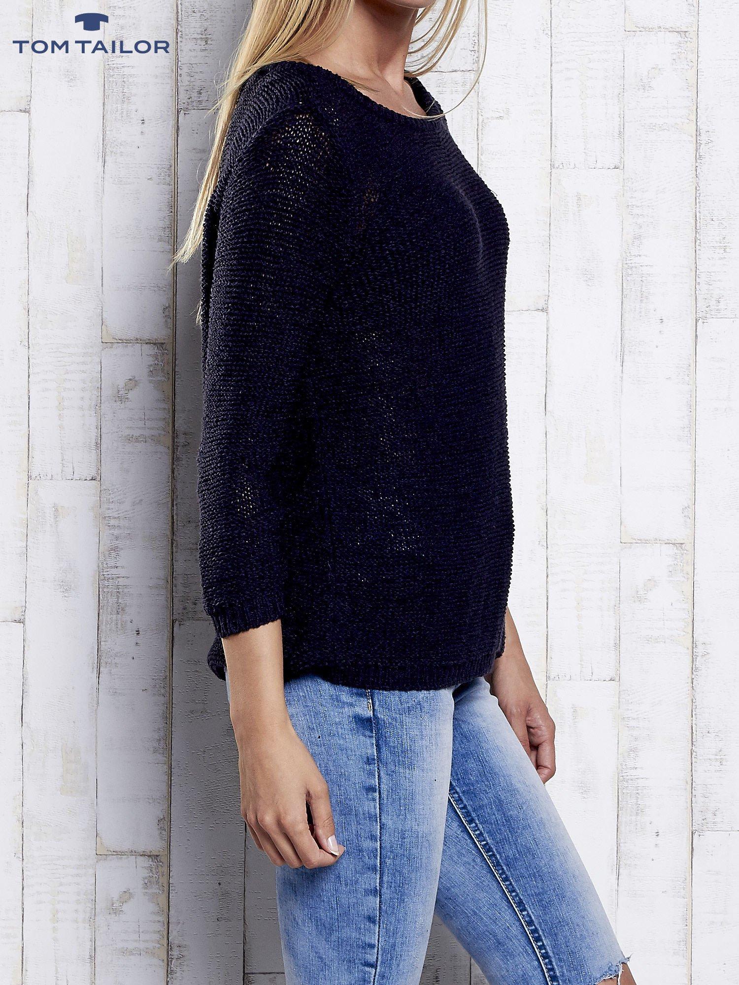 TOM TAILOR Granatowy sweter z kokardą na plecach                                  zdj.                                  4