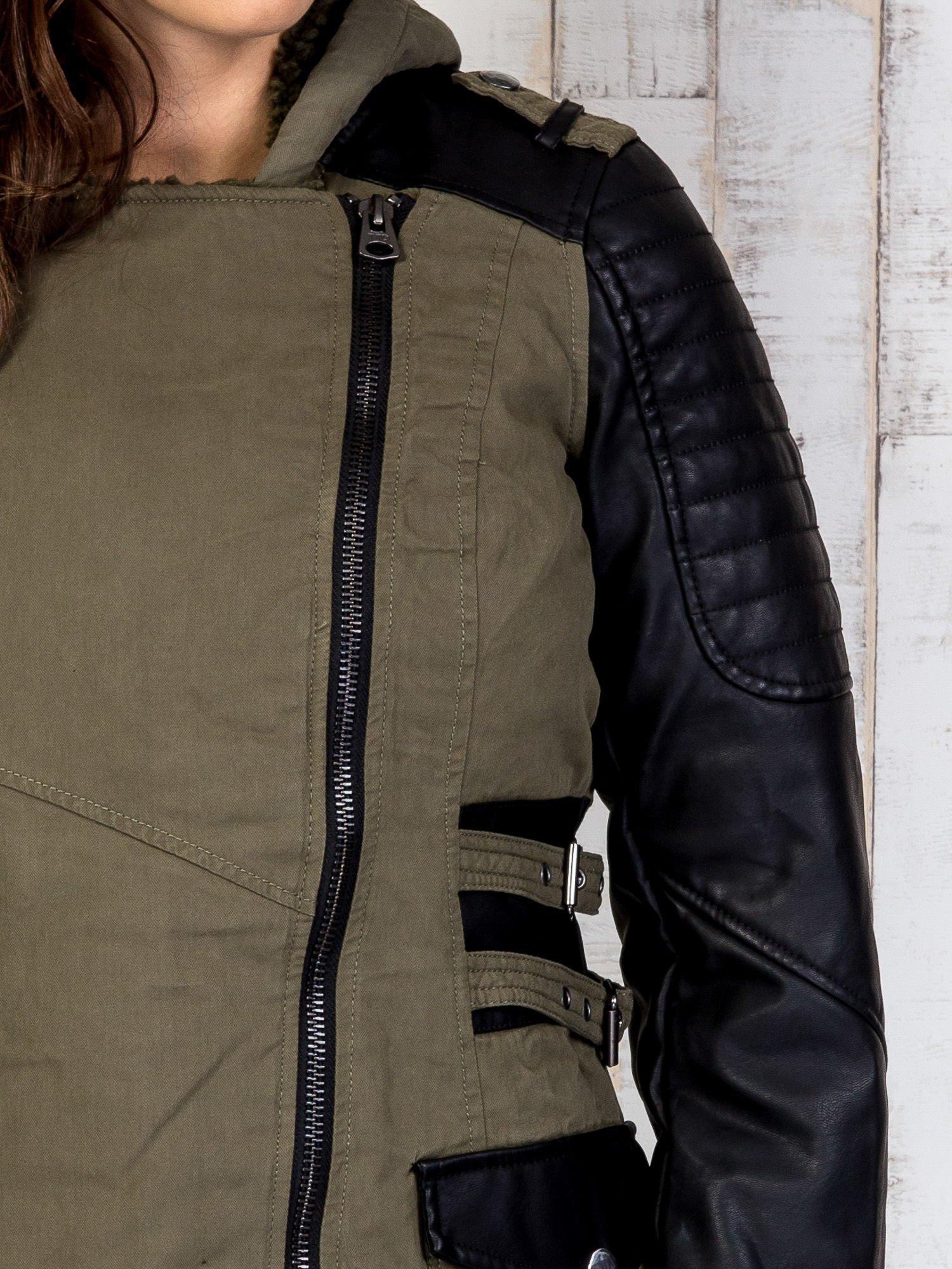 TOM TAILOR Khaki kurtka ze skórzanymi rękawami                                  zdj.                                  8