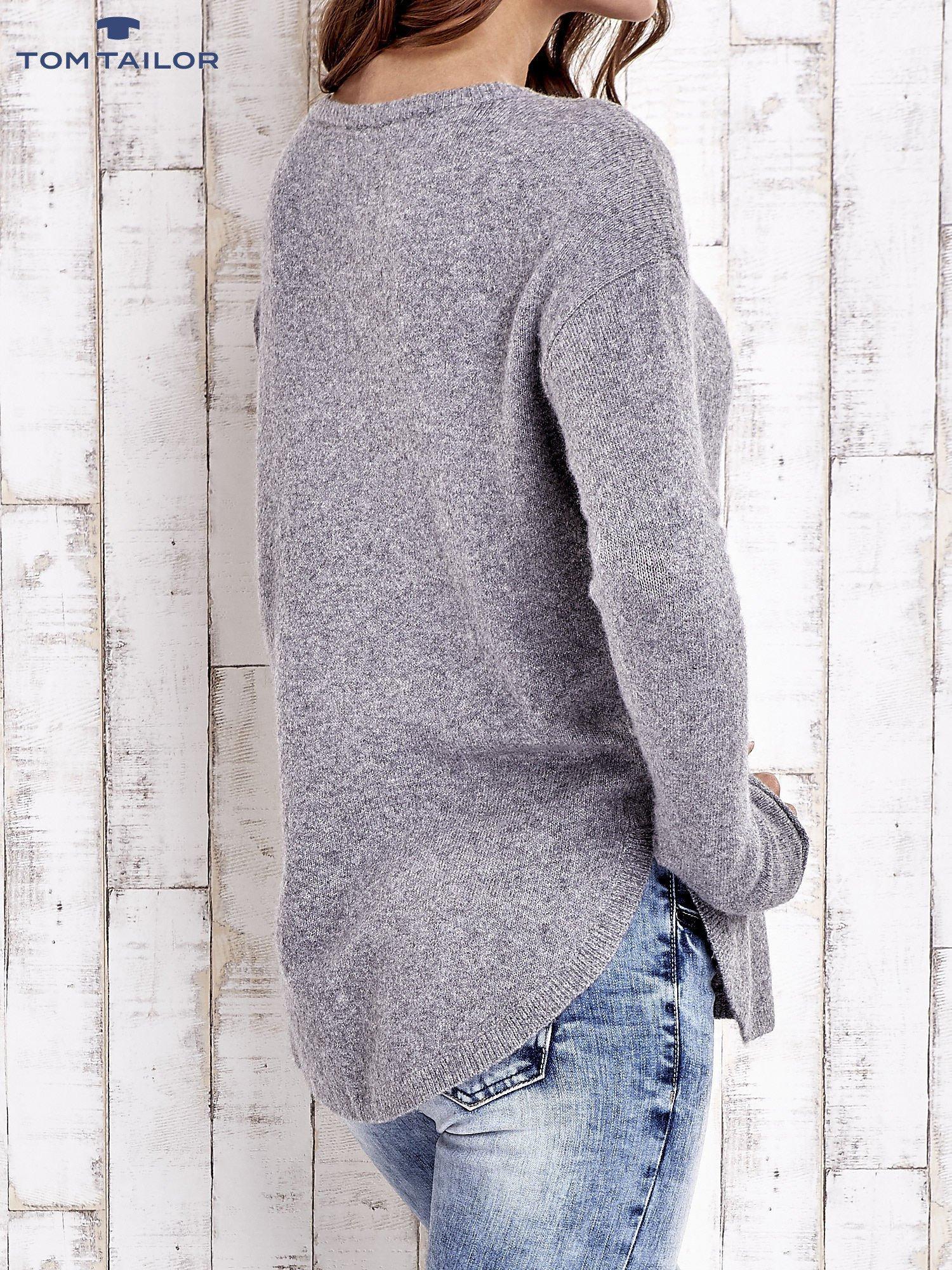 TOM TAILOR Szary gładki wełniany sweter                                  zdj.                                  5