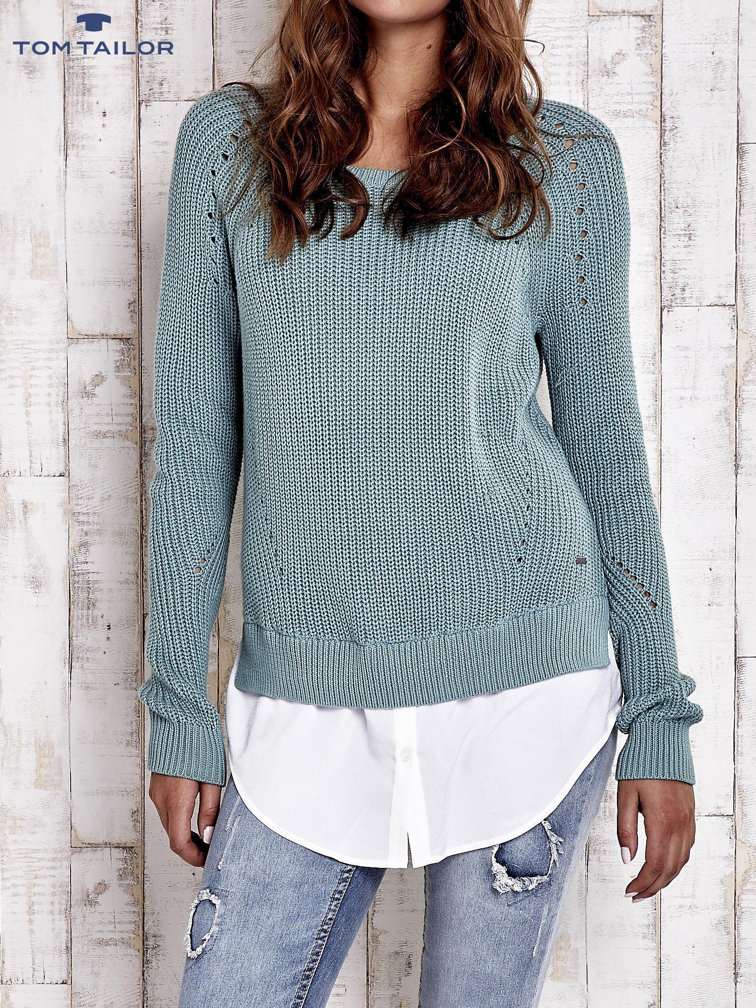 TOM TAILOR Zielony sweter z koszulą                                  zdj.                                  2