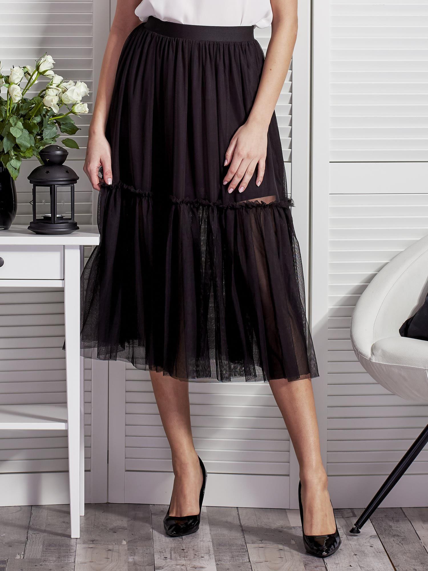a2b0d7a7 Tiulowa warstwowa spódnica damska czarna