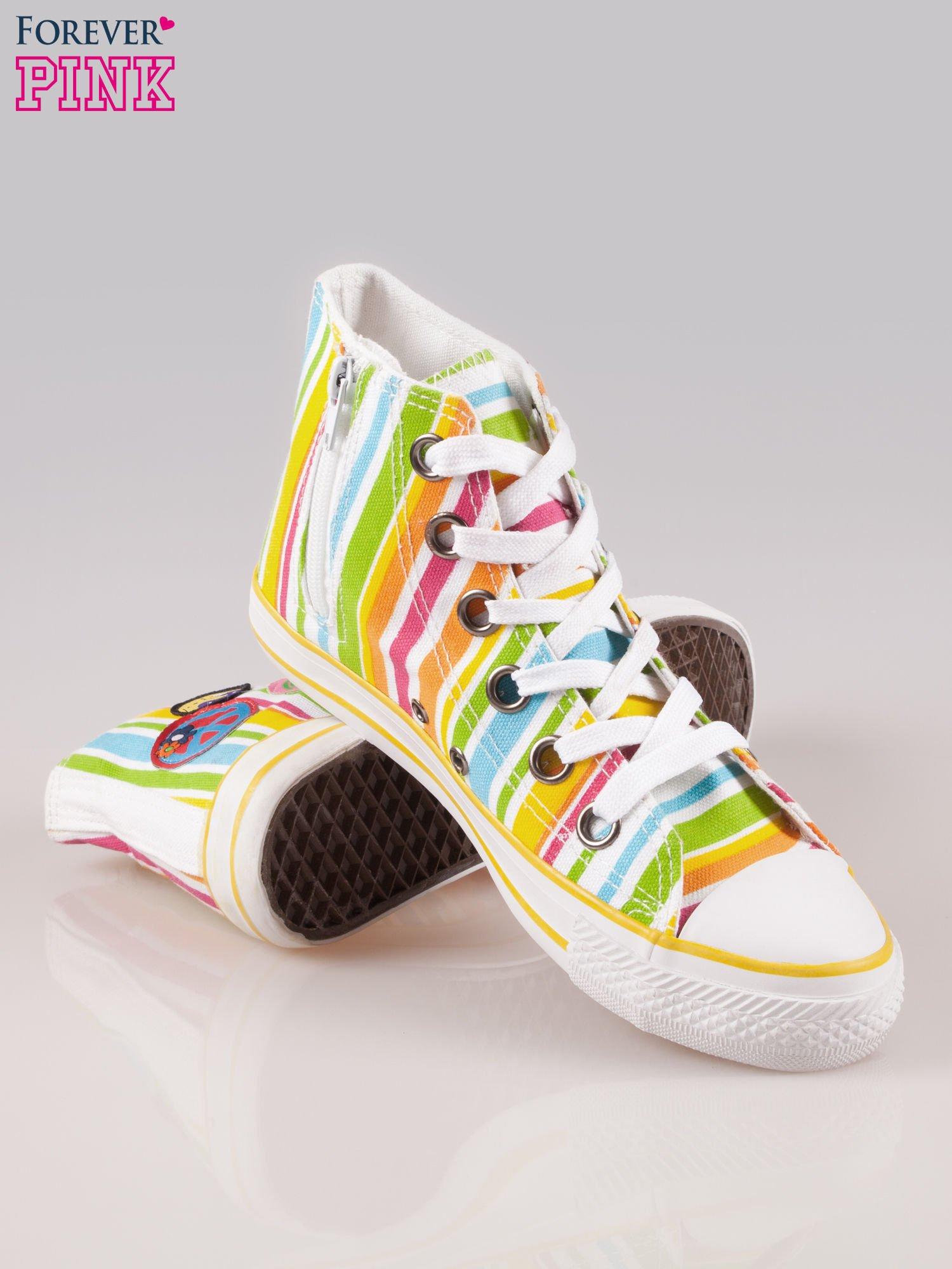 Trampki za kostkę w kolorowe paski w stylu hippie Flower Power                                  zdj.                                  4