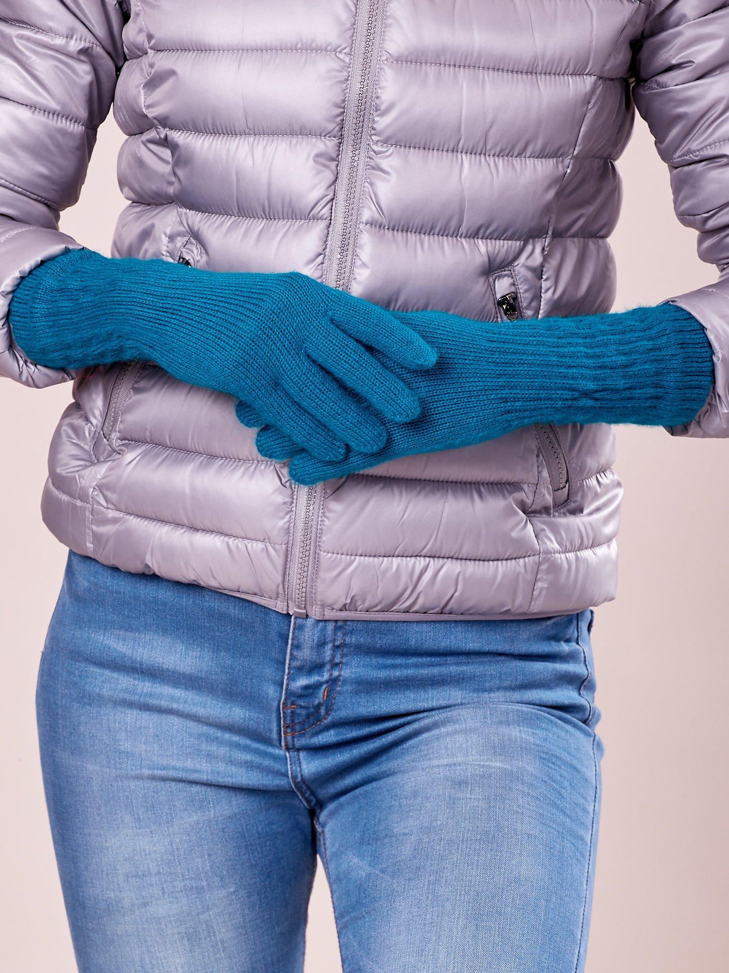 Turkusowe długie rękawiczki z drapowanym rękawem                                  zdj.                                  1