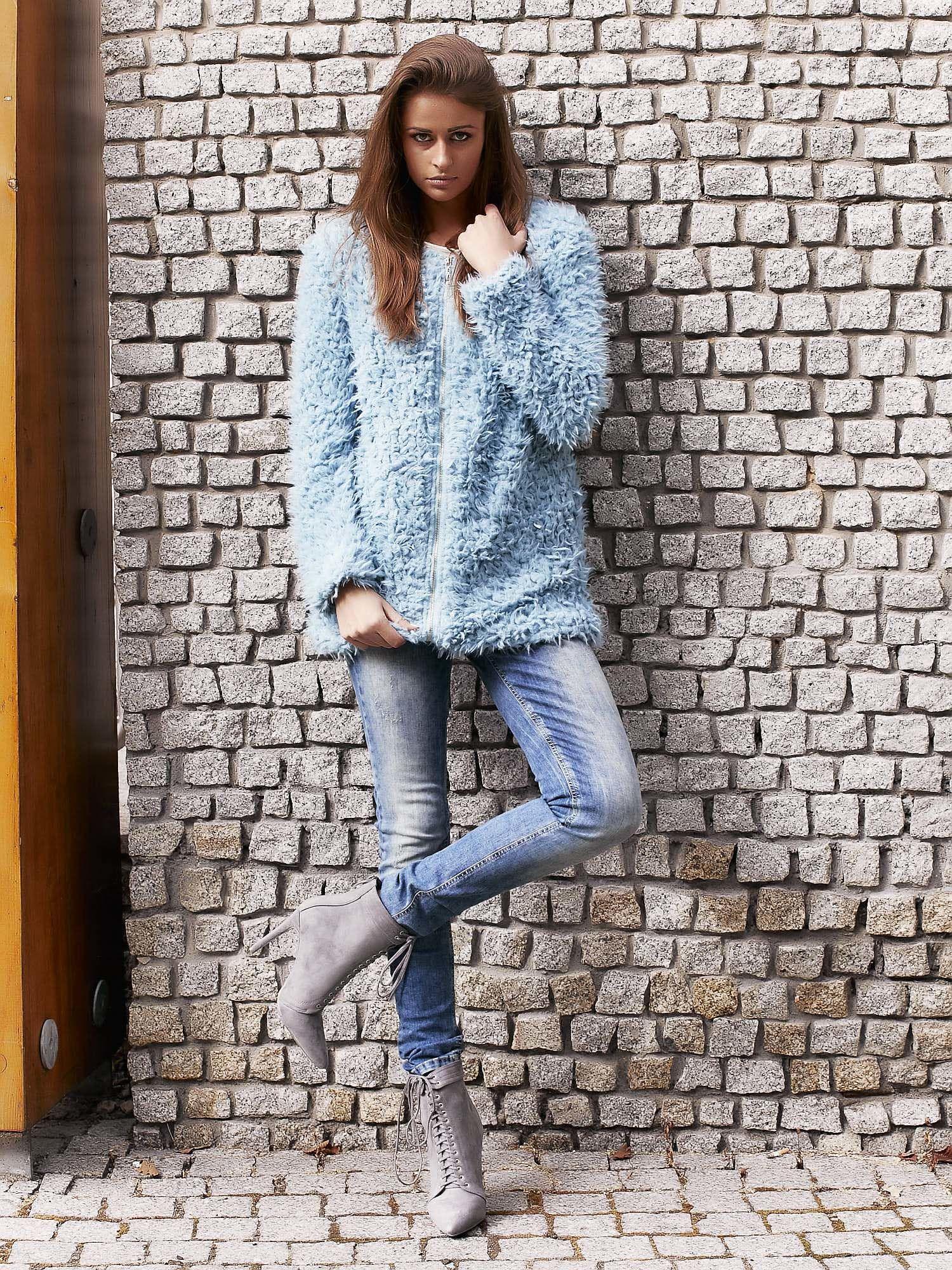 Turkusowy futrzany sweter kurtka na suwak                                  zdj.                                  12