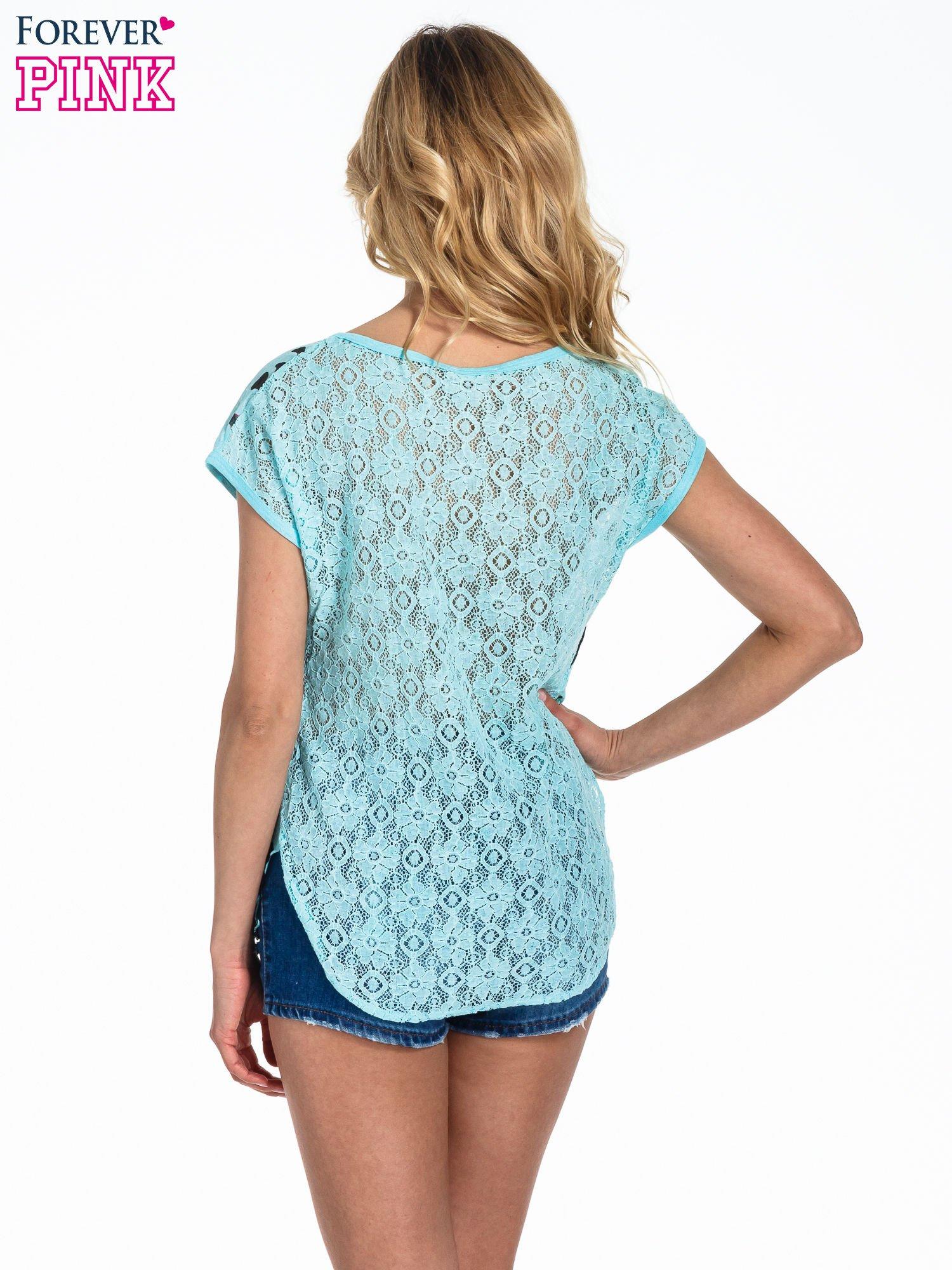Turkusowy panterkowy t-shirt z koronkowym tyłem                                  zdj.                                  4