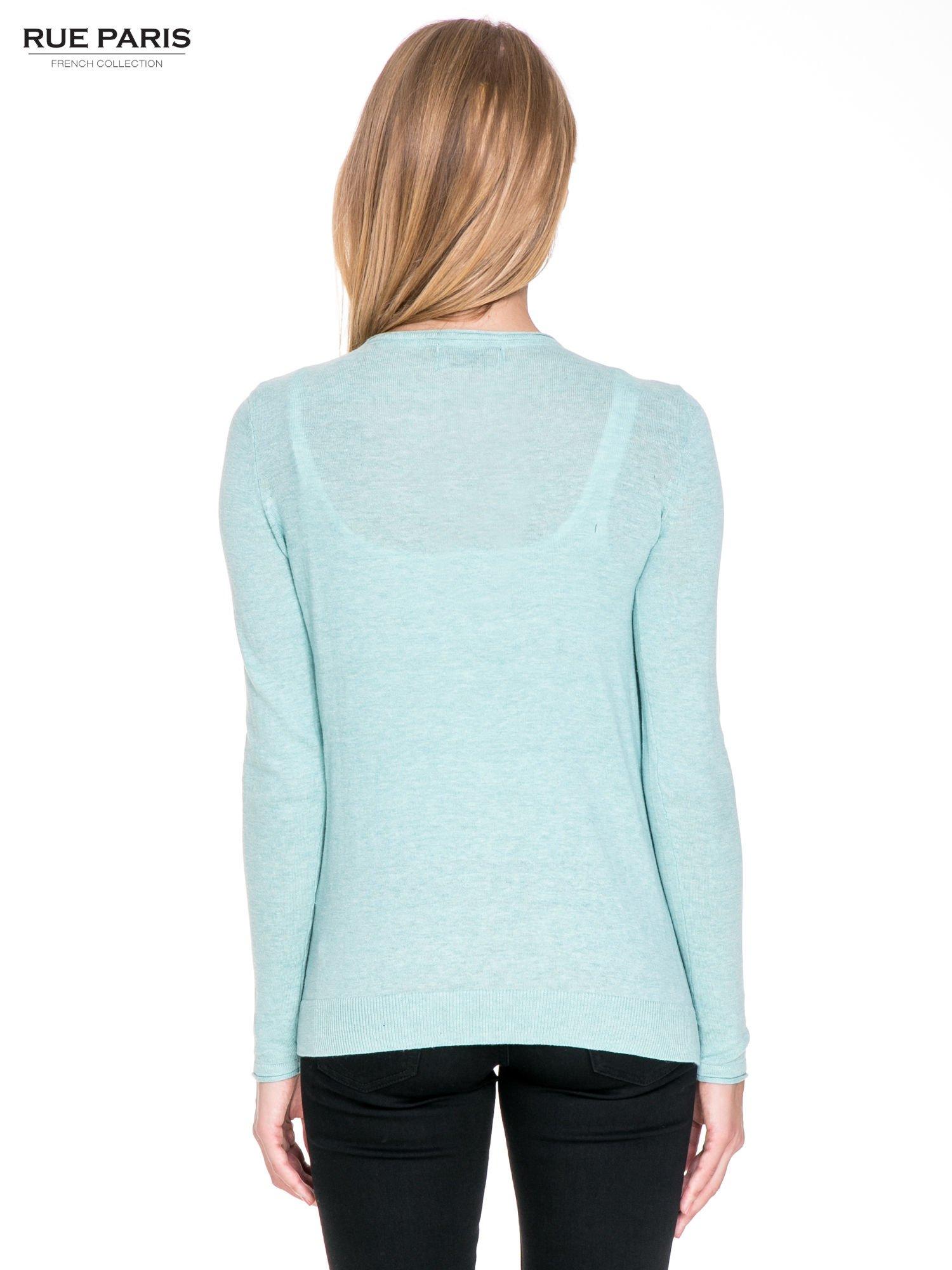Turkusowy sweterek kardigan o kaskadowym fasonie                                  zdj.                                  5