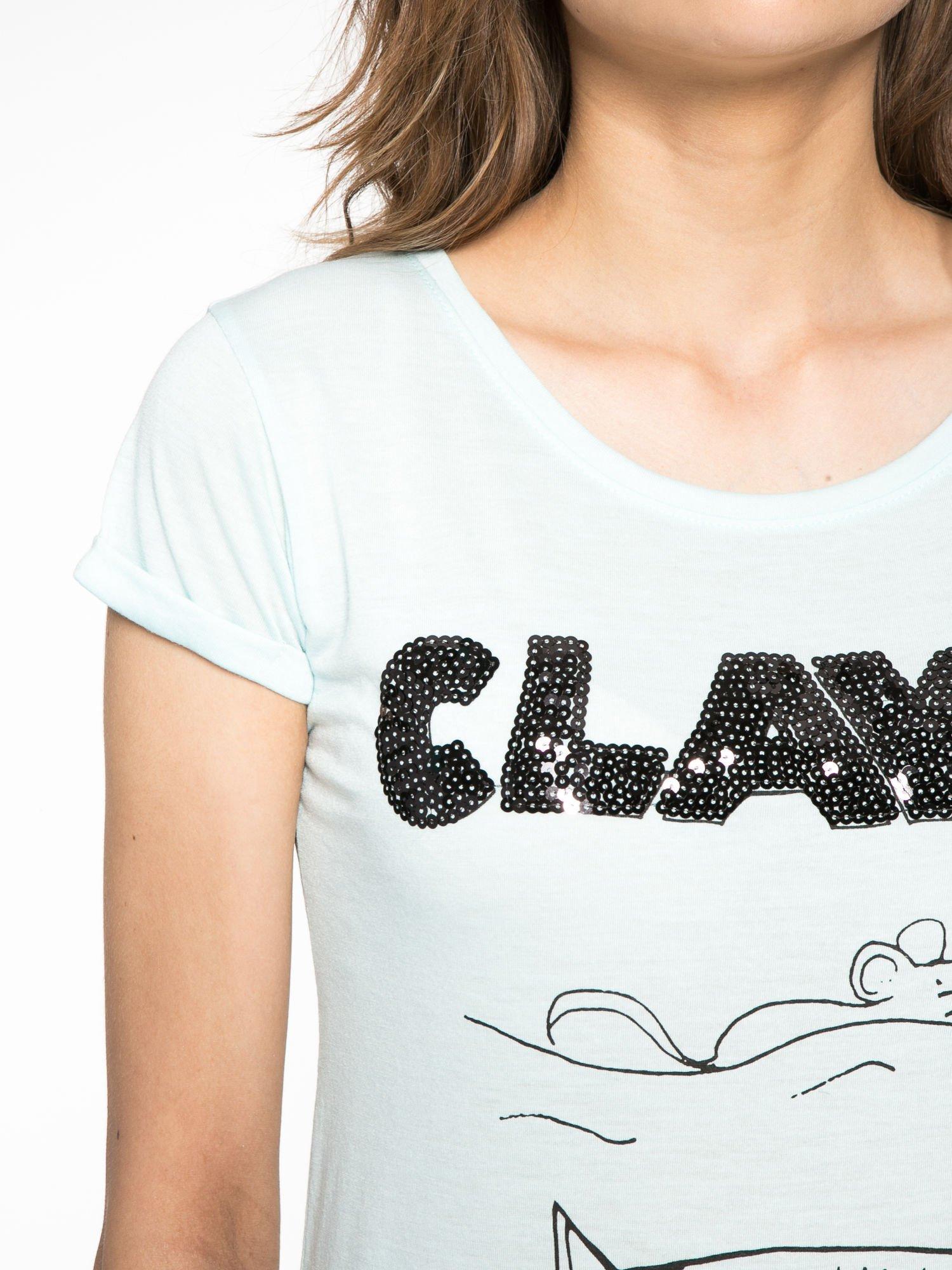 Turkusowy t-shirt z nadrukiem kota i myszy                                  zdj.                                  4