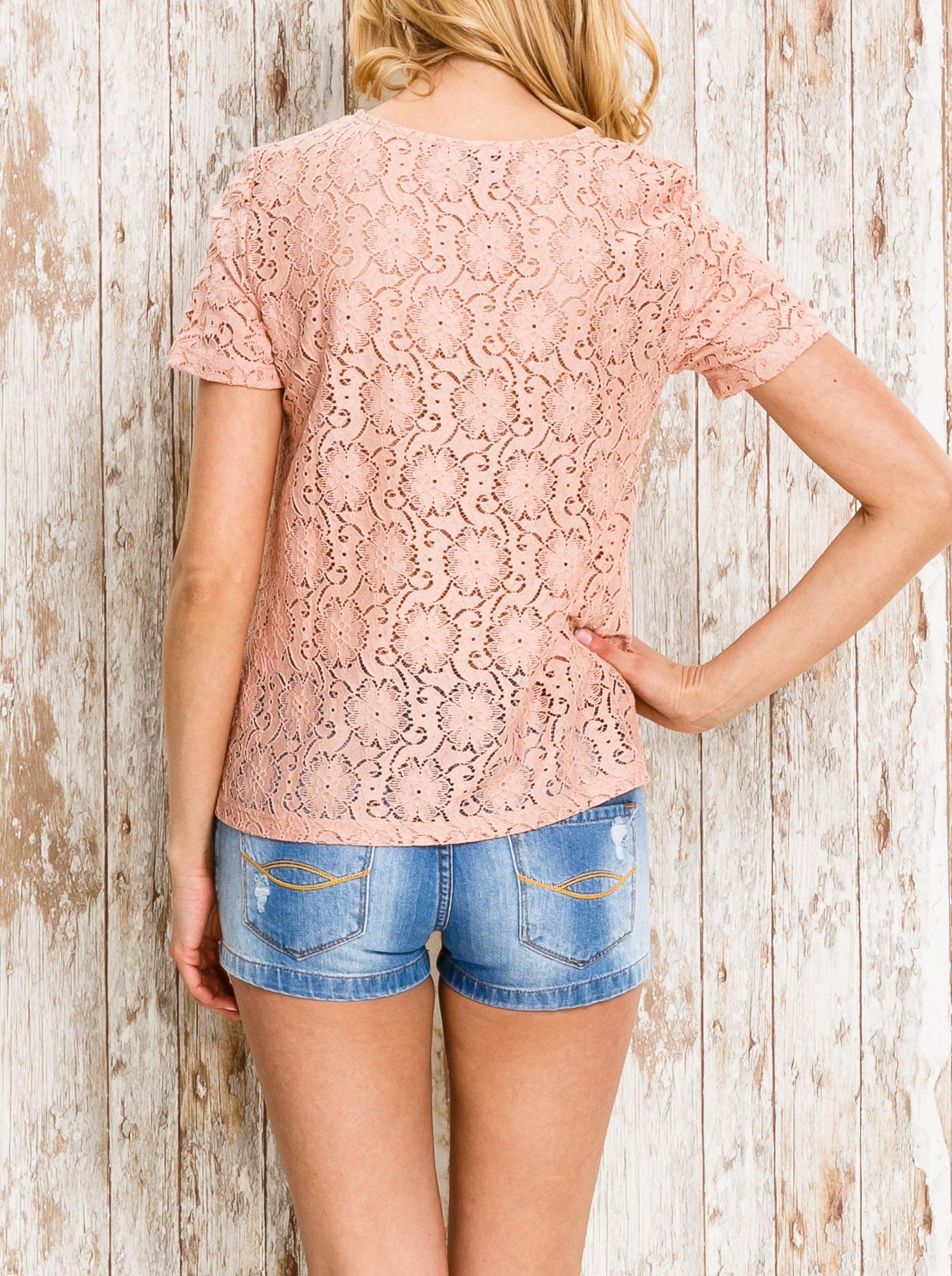 VERO MODA Różowy ażurowy t-shirt                                  zdj.                                  4