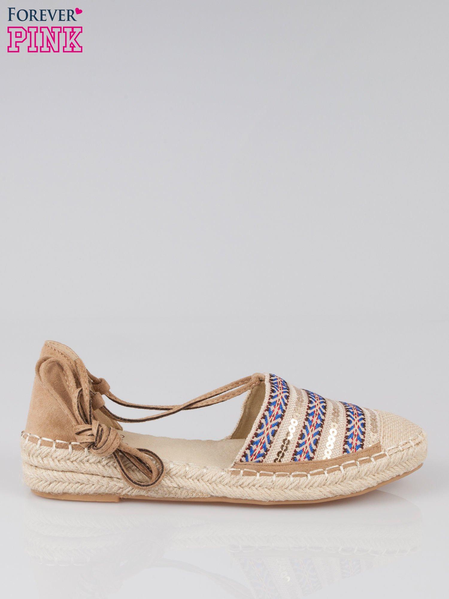 Wiązane espadryle lace up w azteckie wzory                                  zdj.                                  1
