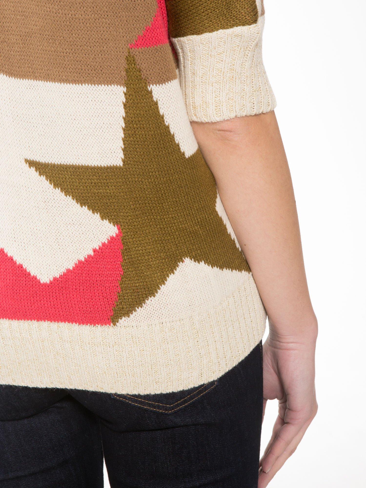 Wielokolorowy sweter z nadrukiem gwiazd                                  zdj.                                  8