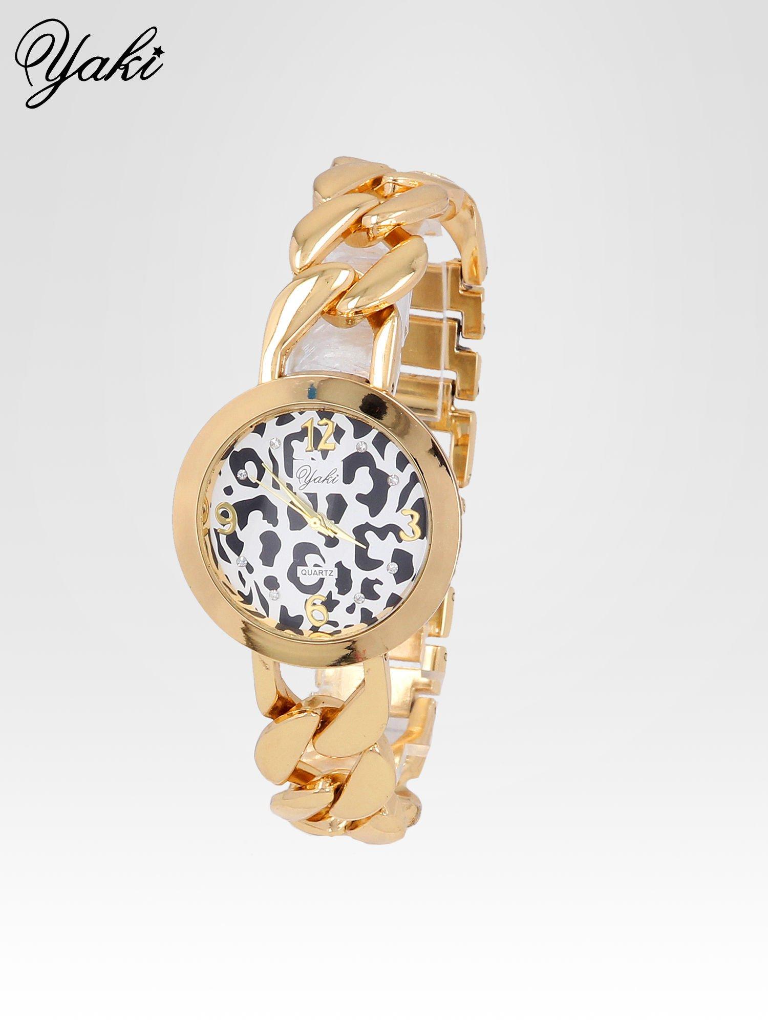 Zegarek damski z motywem leopard print na bransolecie ze złota                                  zdj.                                  2