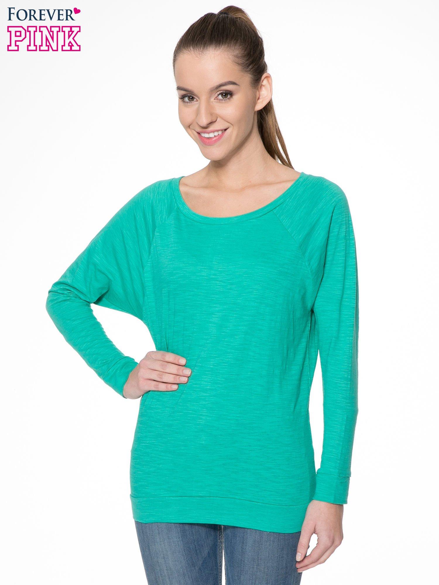 Zielona bawełniana bluzka z rękawami typu reglan                                  zdj.                                  1