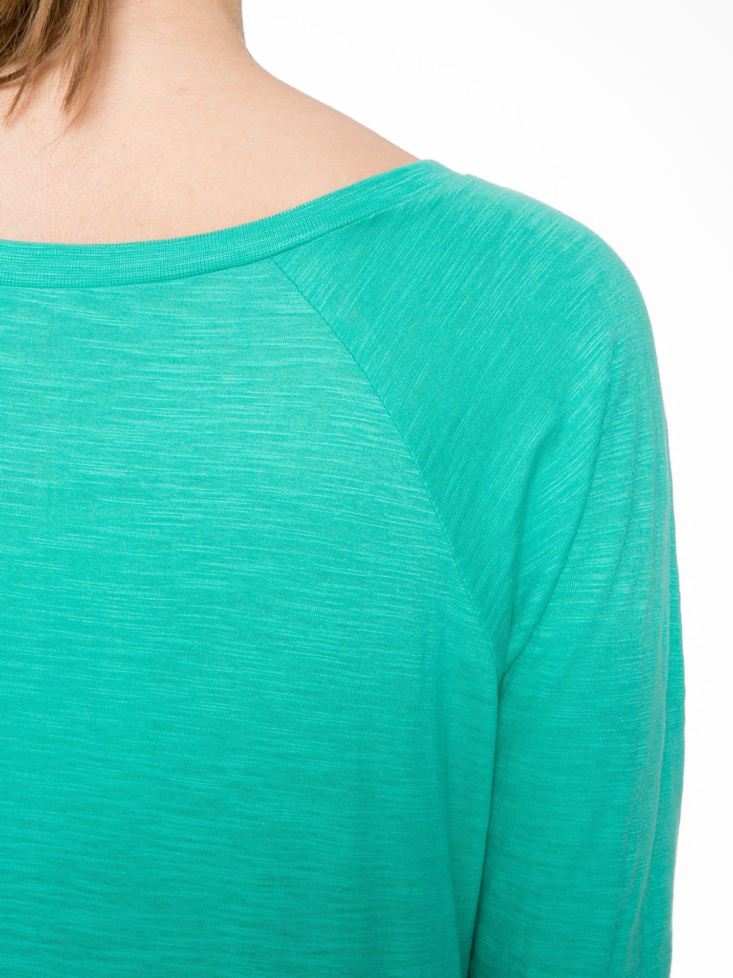 Zielona bawełniana bluzka z rękawami typu reglan                                  zdj.                                  7