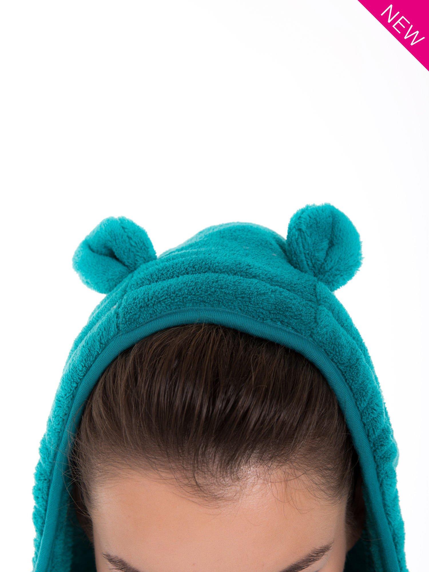 Zielona bluza miś z kapturem z uszkami i pomponami                                  zdj.                                  9