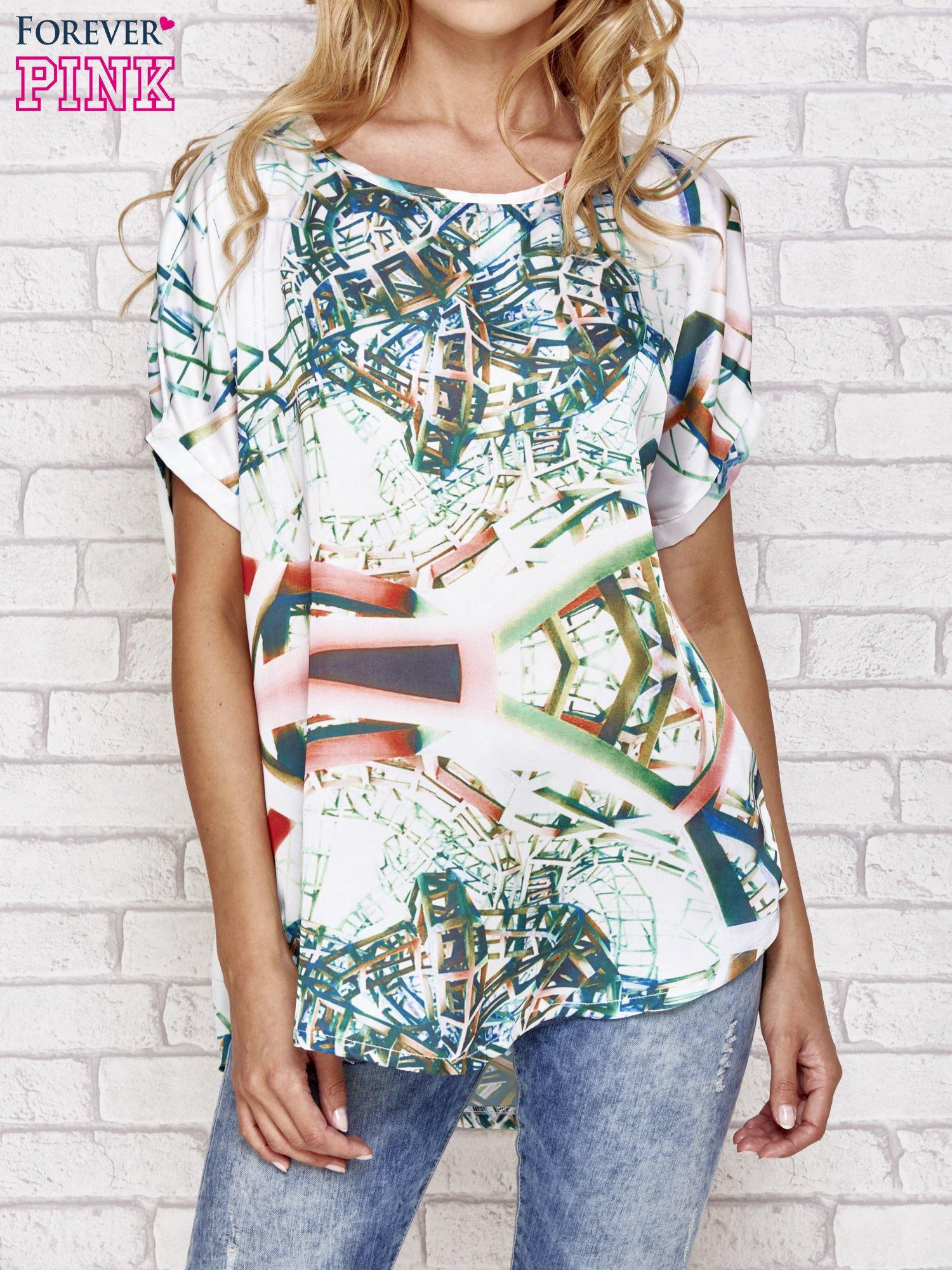 Zielona bluzka koszulowa z abstrakcyjnym nadrukiem                                  zdj.                                  1
